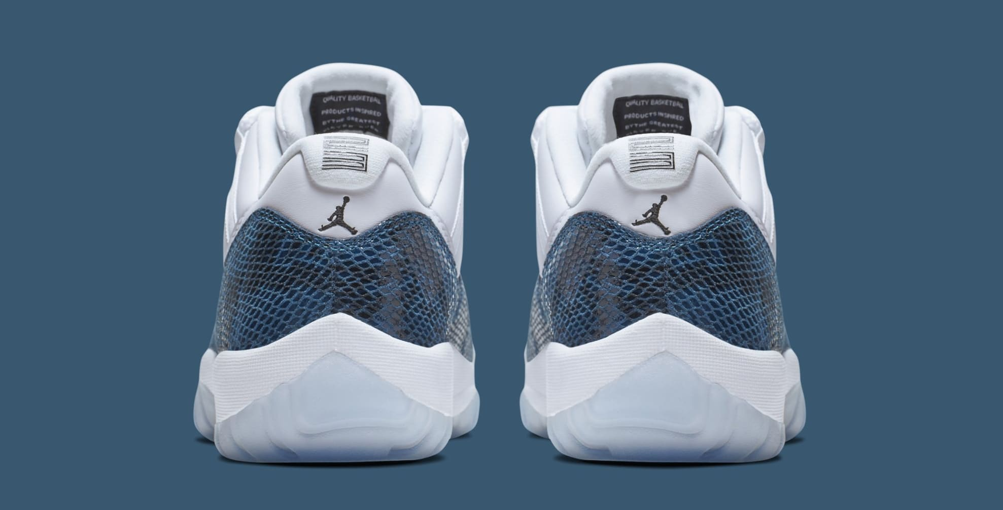 66d5261fef7e34 Image via Nike Air Jordan 11 Low  Blue Snakeskin  CD6846-102 (Heel)
