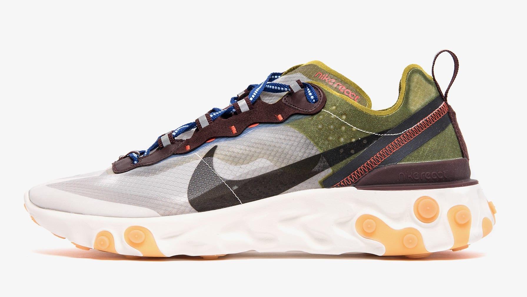 Nike React Element 87 'Moss/Black-El Dorado-Deep Royal Blue' AQ1090-300 (Lateral)