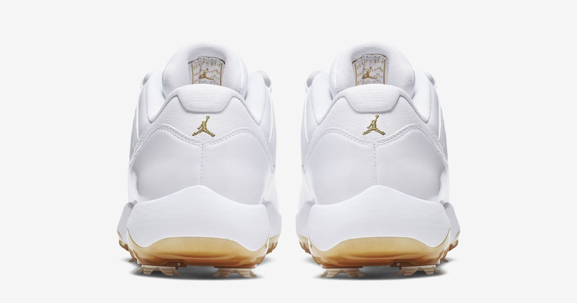 Air Jordan 11 Low Golf 'White/Metallic Gold' (Heel)