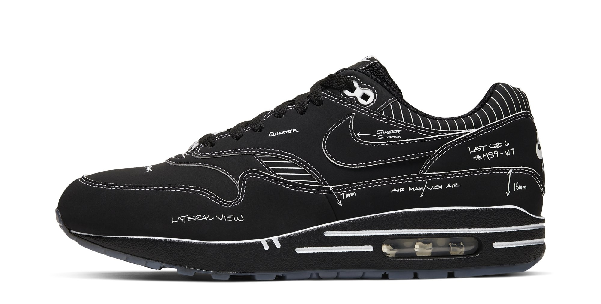 Nike Air Max 1 'Schematic Black' CJ4286-001 (Lateral)