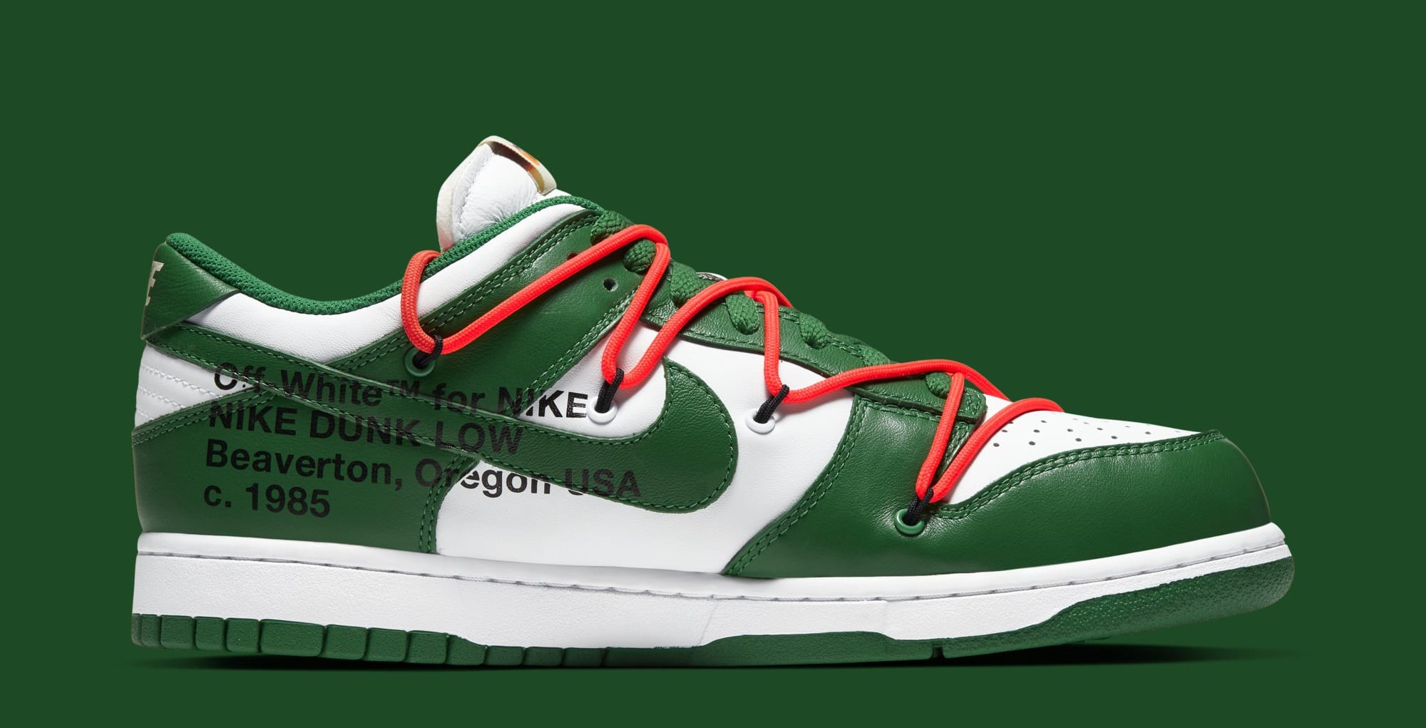 Off-White x Nike Dunk Low 'White/Pine Green' CT0856-100 (Medial)