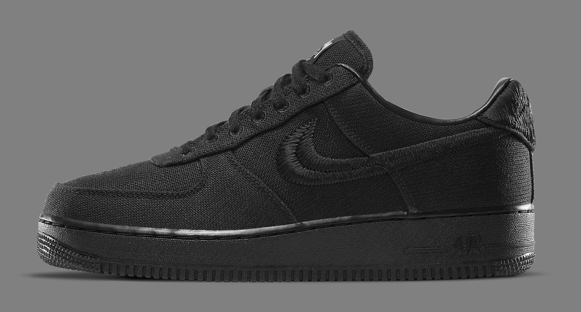 Stussy x Nike Air Force 1 Low 'Black' CZ9084-001 Lateral