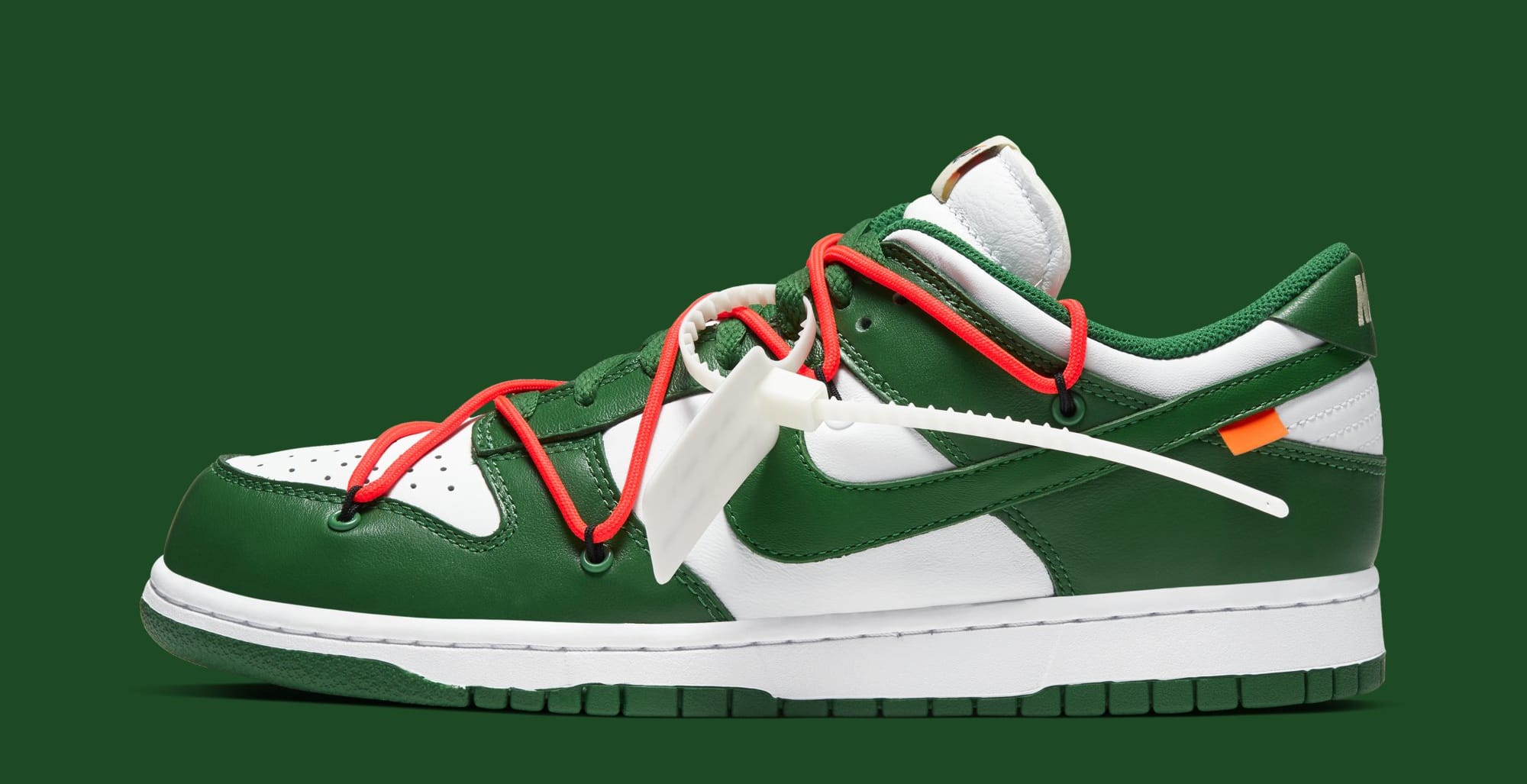 Off-White x Nike Dunk Low 'White/Pine Green' CT0856-100 (Lateral)