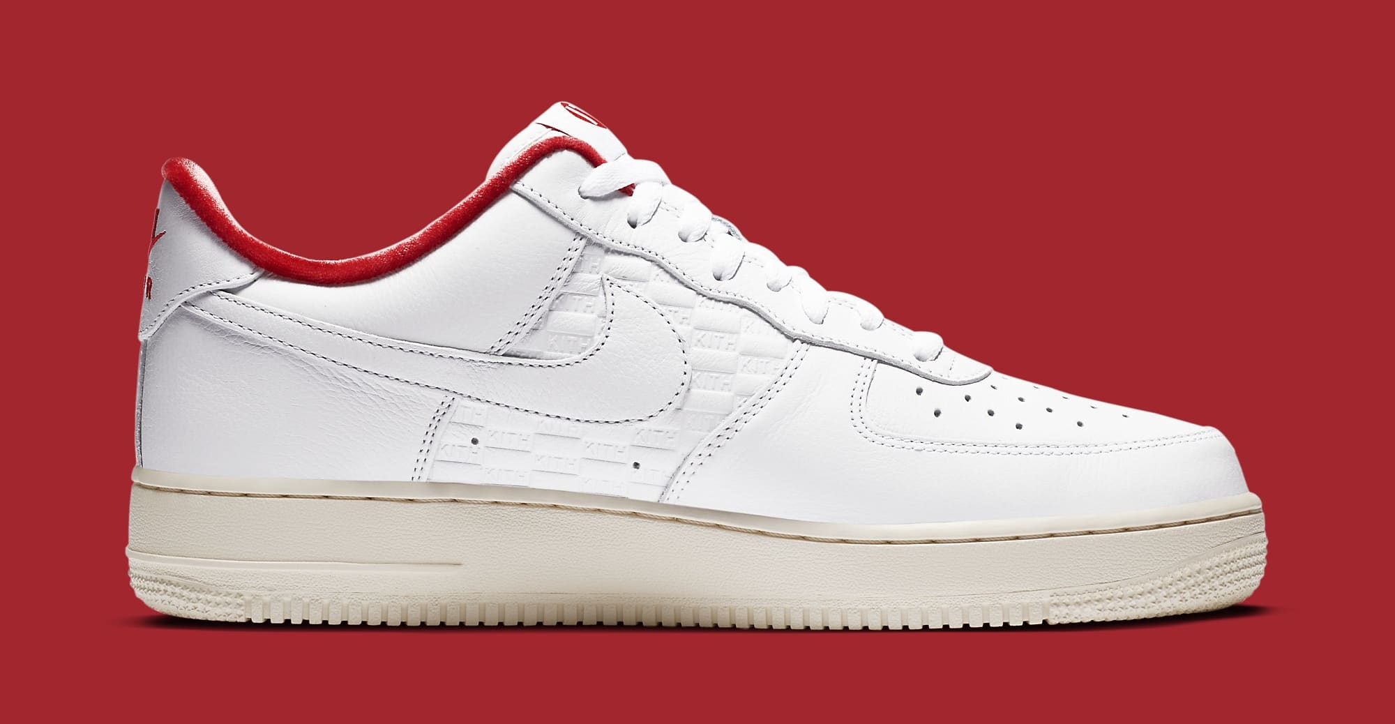Kith x Nike Air Force 1 Low White/University Red-Metallic Gold CZ7926-100 Medial