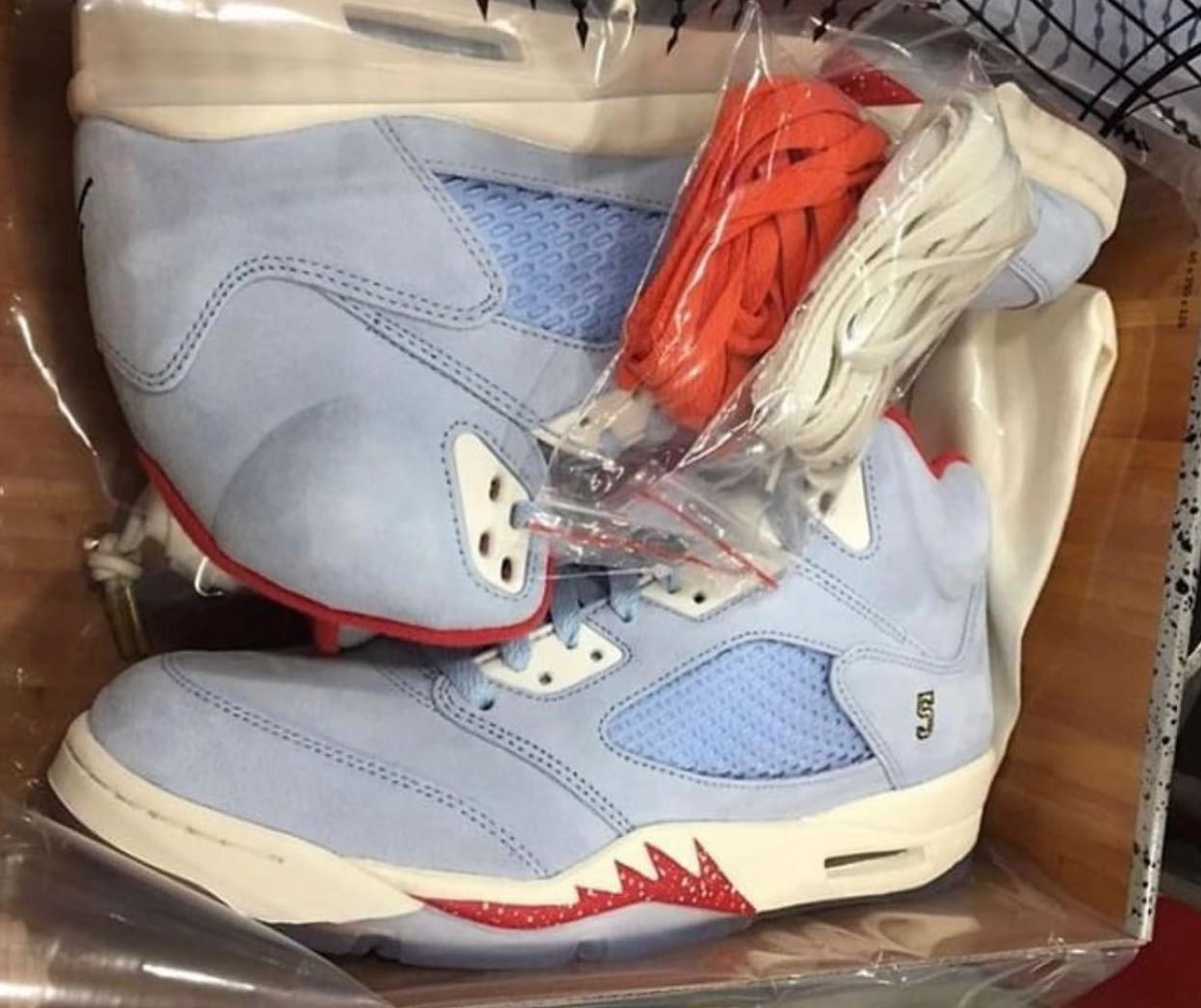 Trophy Room x Air Jordan 5 JSP 'Ice Blue/Sail-Metallic Gold-University Red'