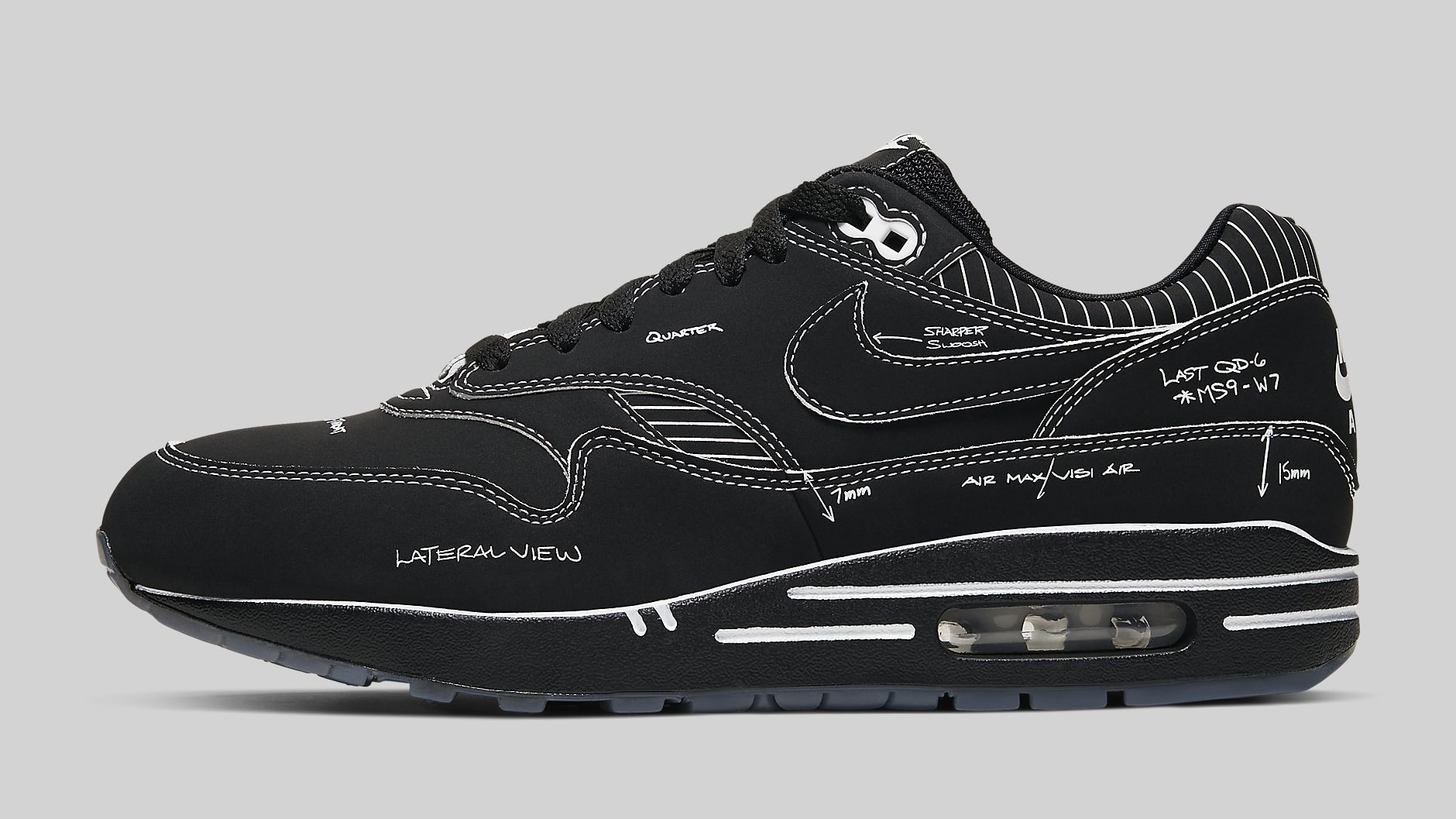 Nike Air Max 1 Tinker Hatfield Schematic Black Aug. 9, 2019