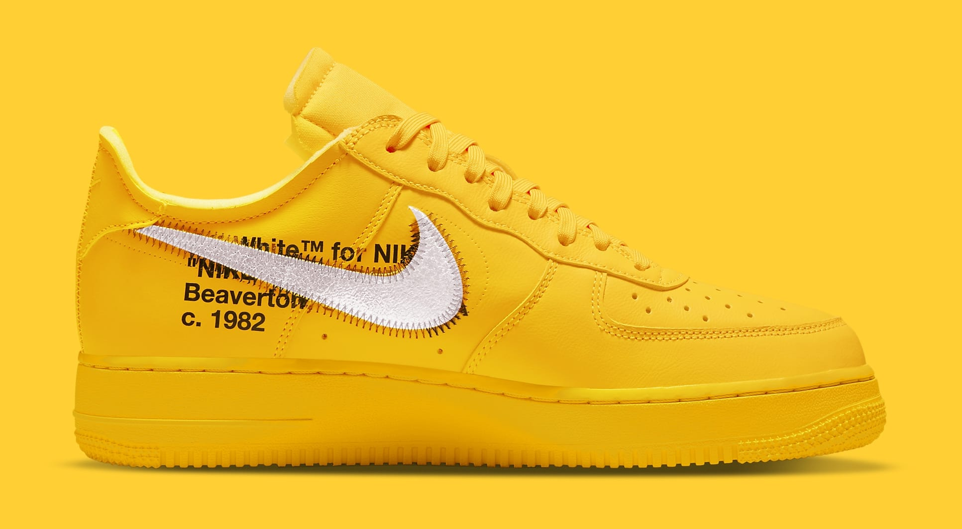 Off-White x Nike Air Force 1 Low 'Lemonade' DD1876-700 Medial