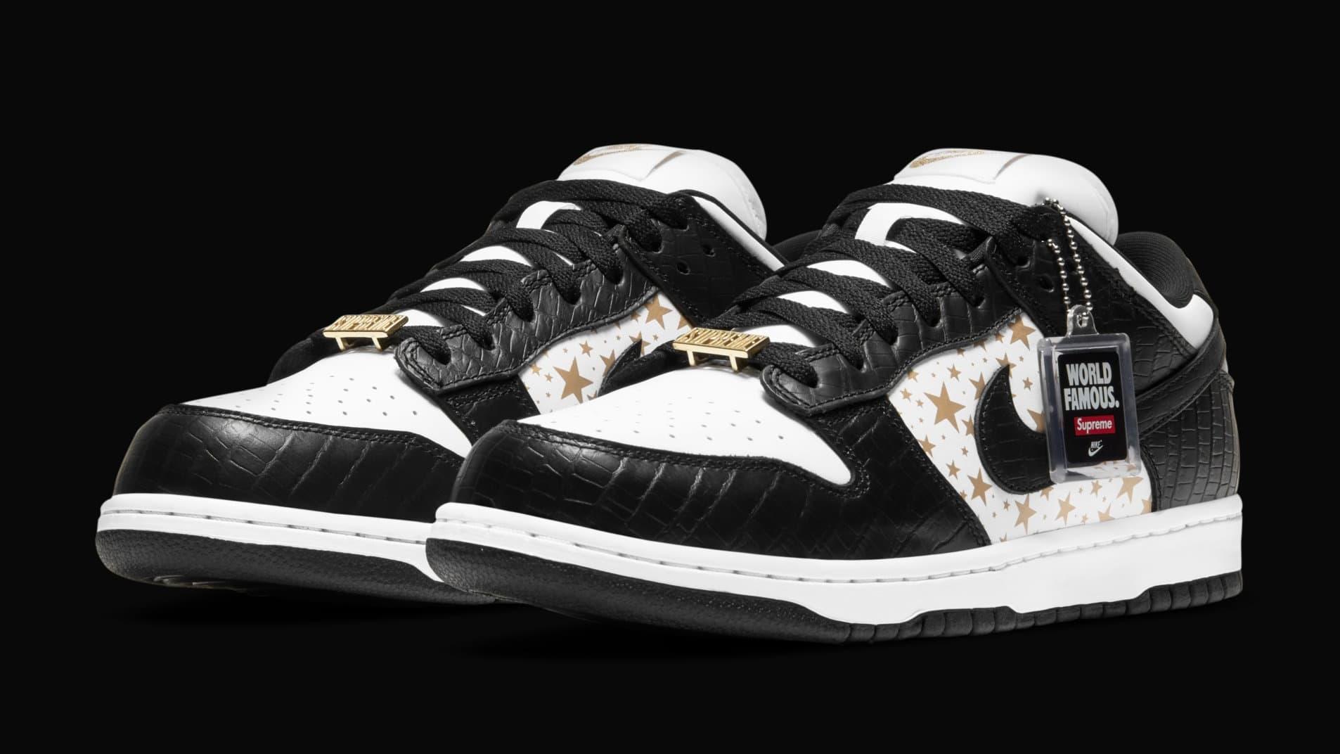 Supreme x Nike SB Dunk Low 'Black' DH3228-102 (Pair)