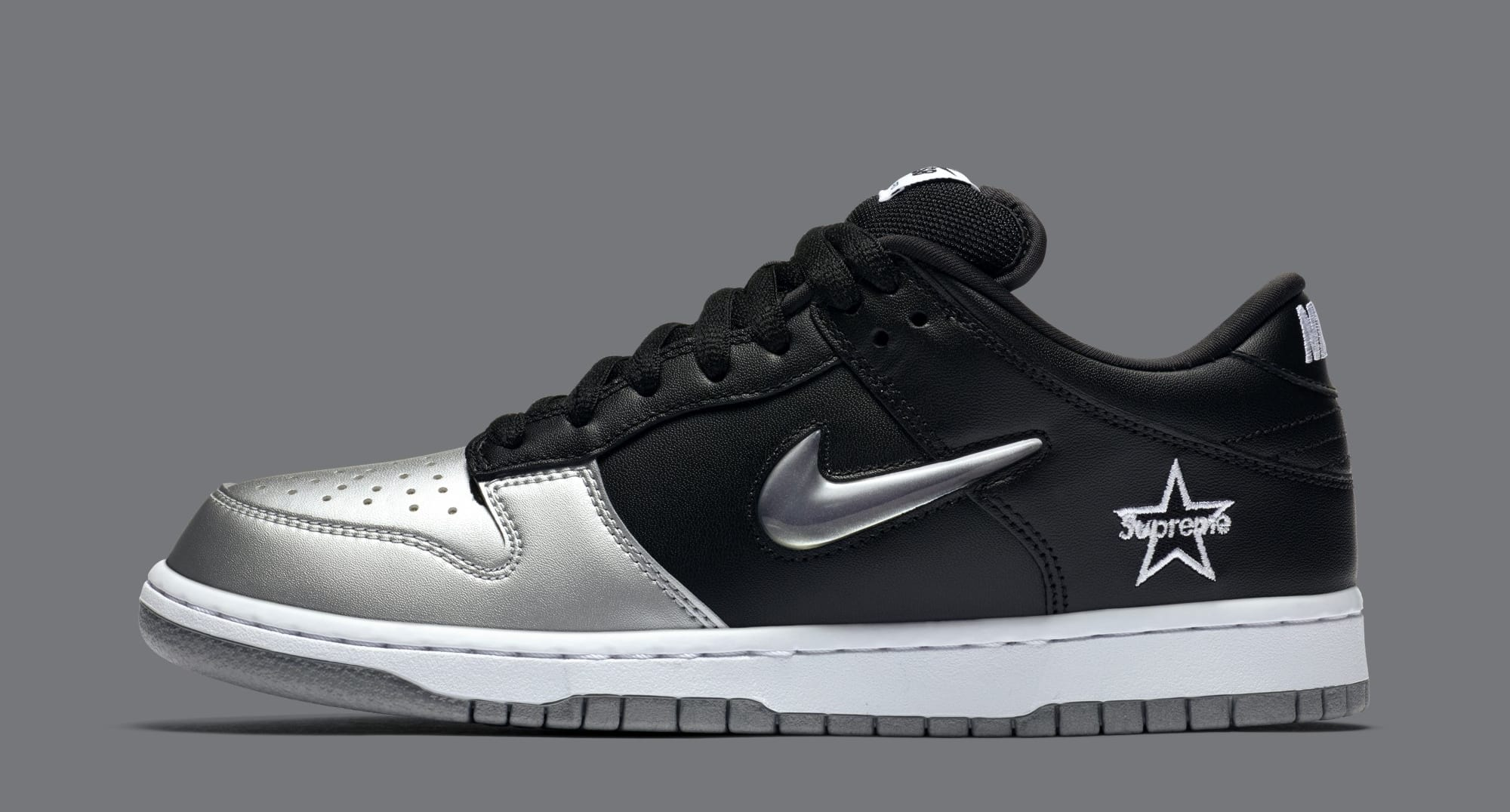 Supreme x Nike SB Dunk Low 'Metallic Silver/Metallic Silver/Black' CK3480-001 (Lateral)