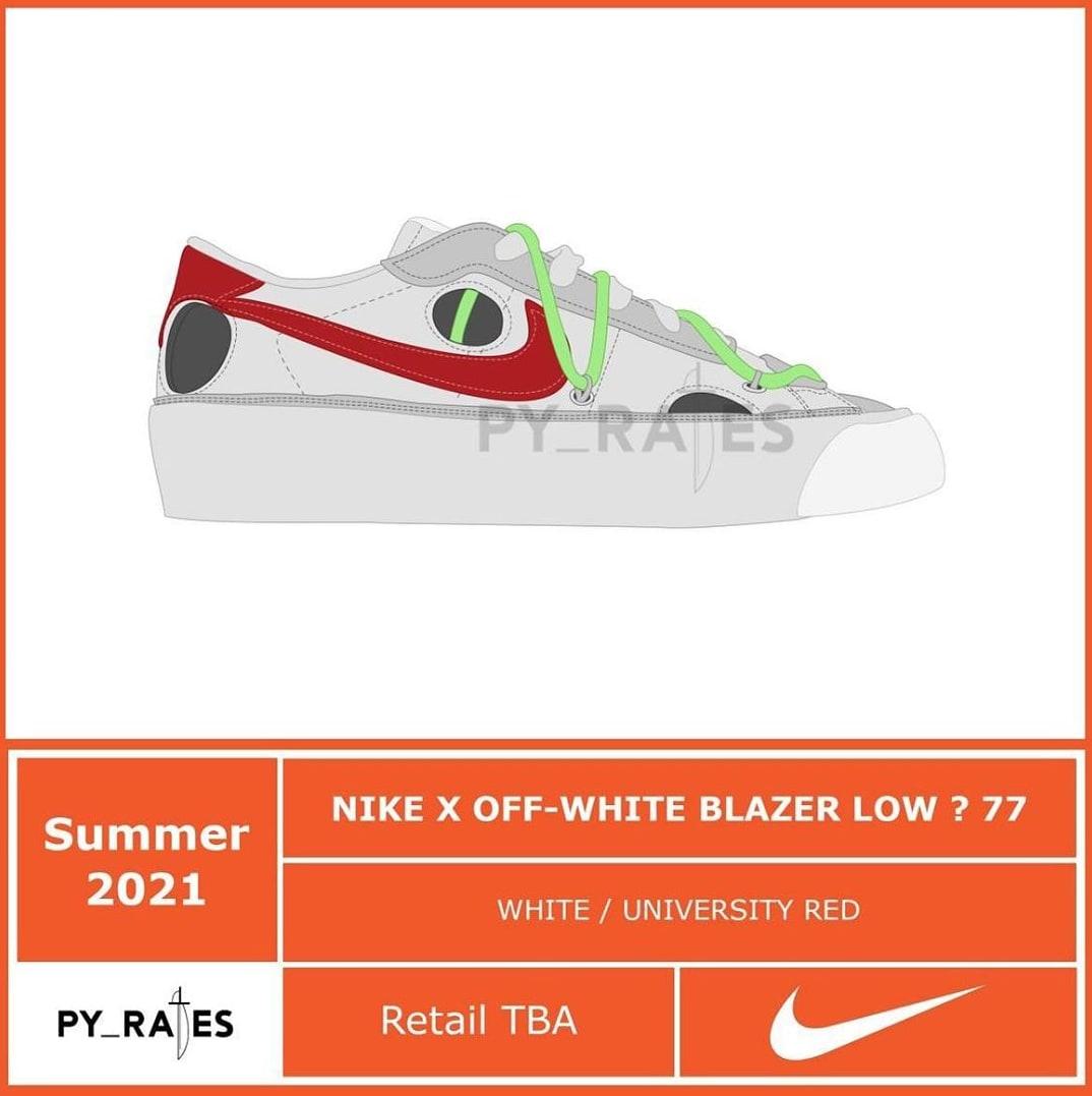 Off White x Nike Blazer Low '77 'White/University Red' Mock up