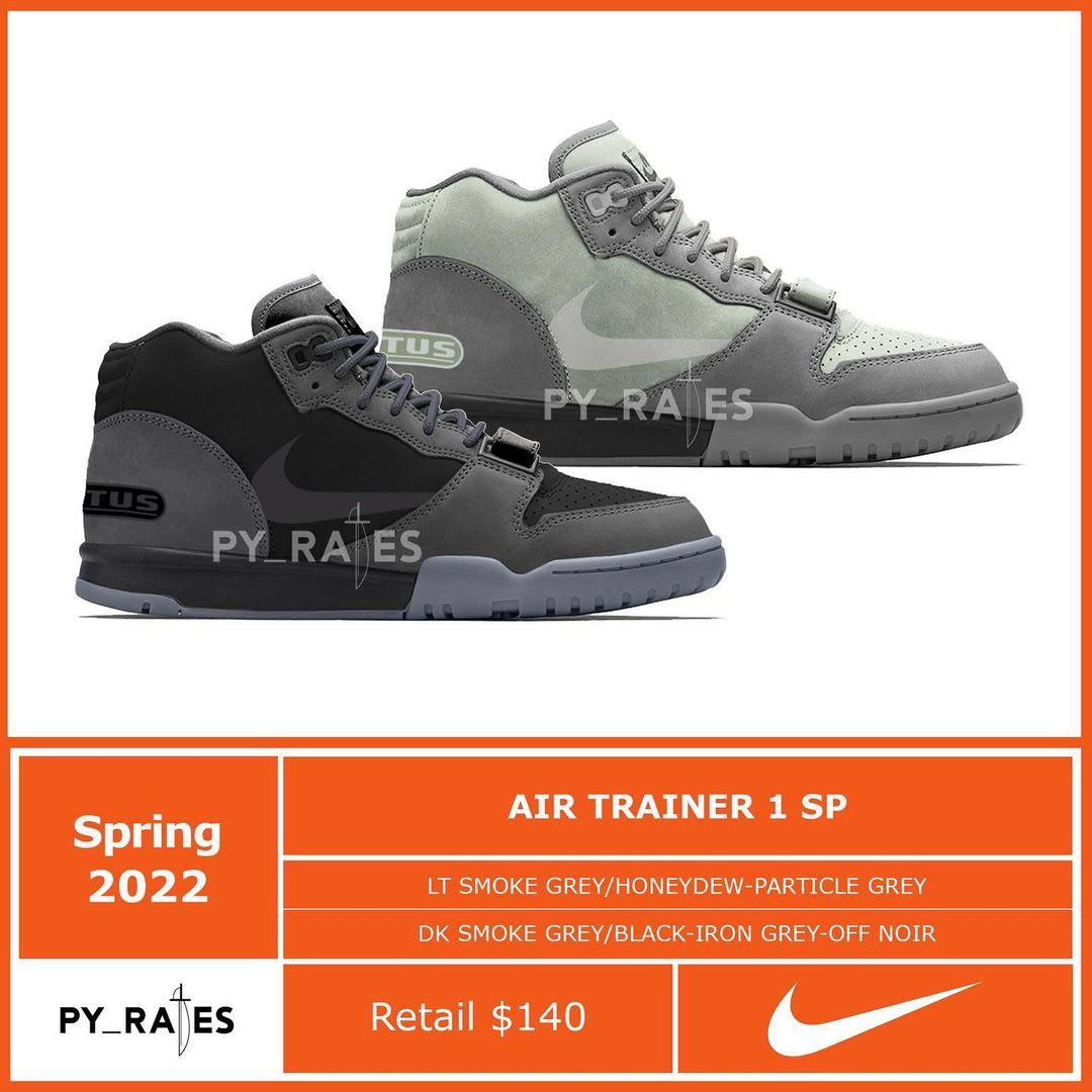 Travis Scott x Nike Air Trainer 1 SP 'Lt Smoke Grey/Honeydew/Particle Grey' 'Dk Smoke Grey/Black/Iron Grey/Off-Noir'