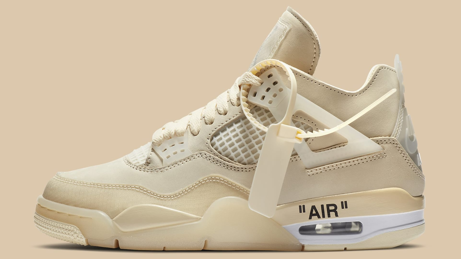 Off-White x Air Jordan 4 Sail Release Date CV9388-100 Profile