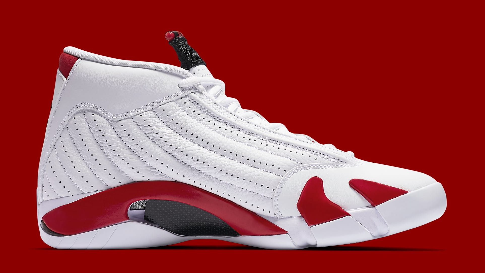 5371165e81347b Image via Nike Air Jordan 14 Retro  Candy Cane 2019  487471-100 Medial