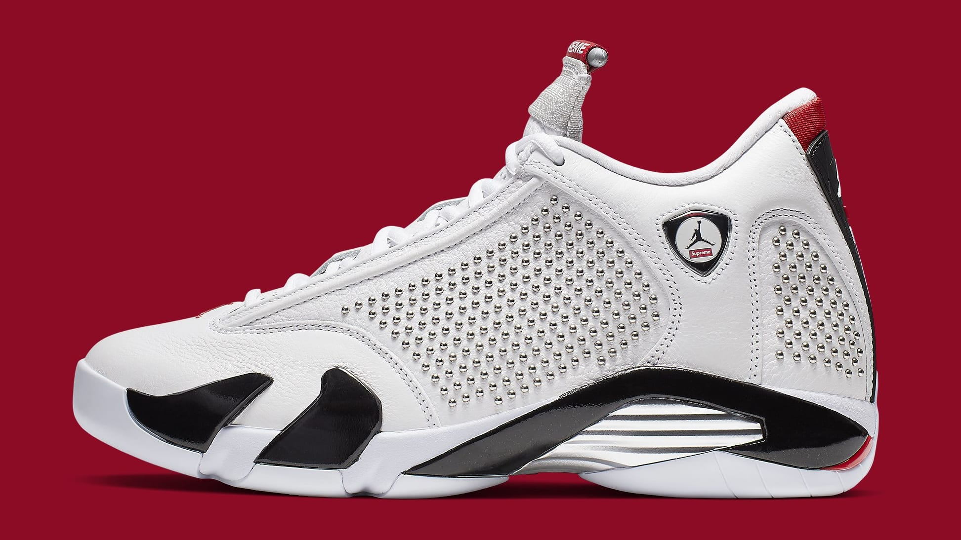 Supreme x Air Jordan 14 'White/University Red' BV7630-106 Lateral