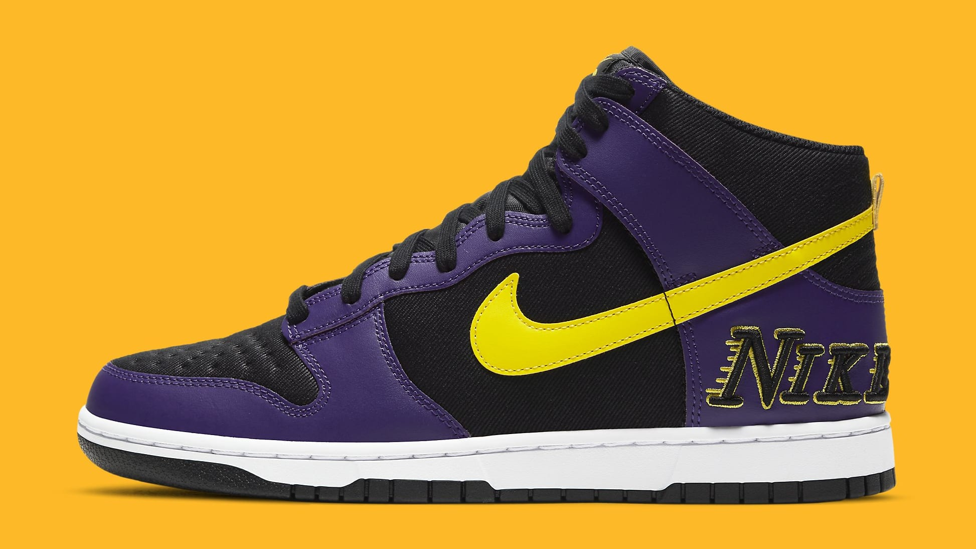 Nike Dunk High PRM EMB 'Lakers' DH0642-001 Lateral