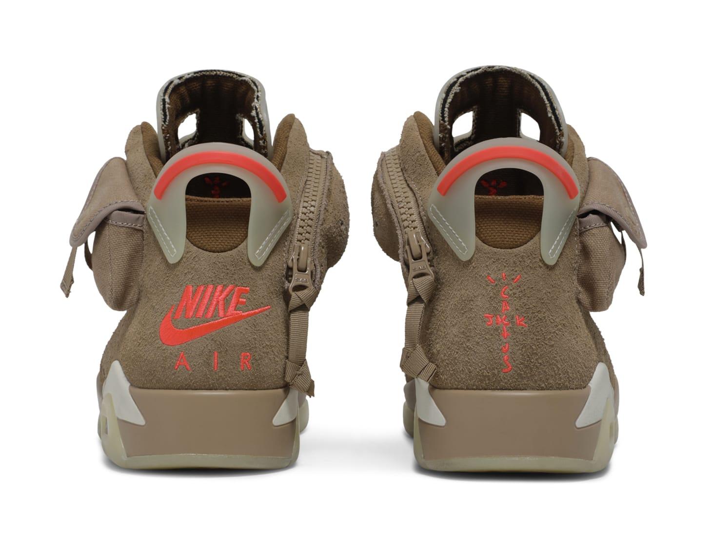 Travis Scott x Air Jordan 6 VI British Khaki Release Date DH0690-200 Heel