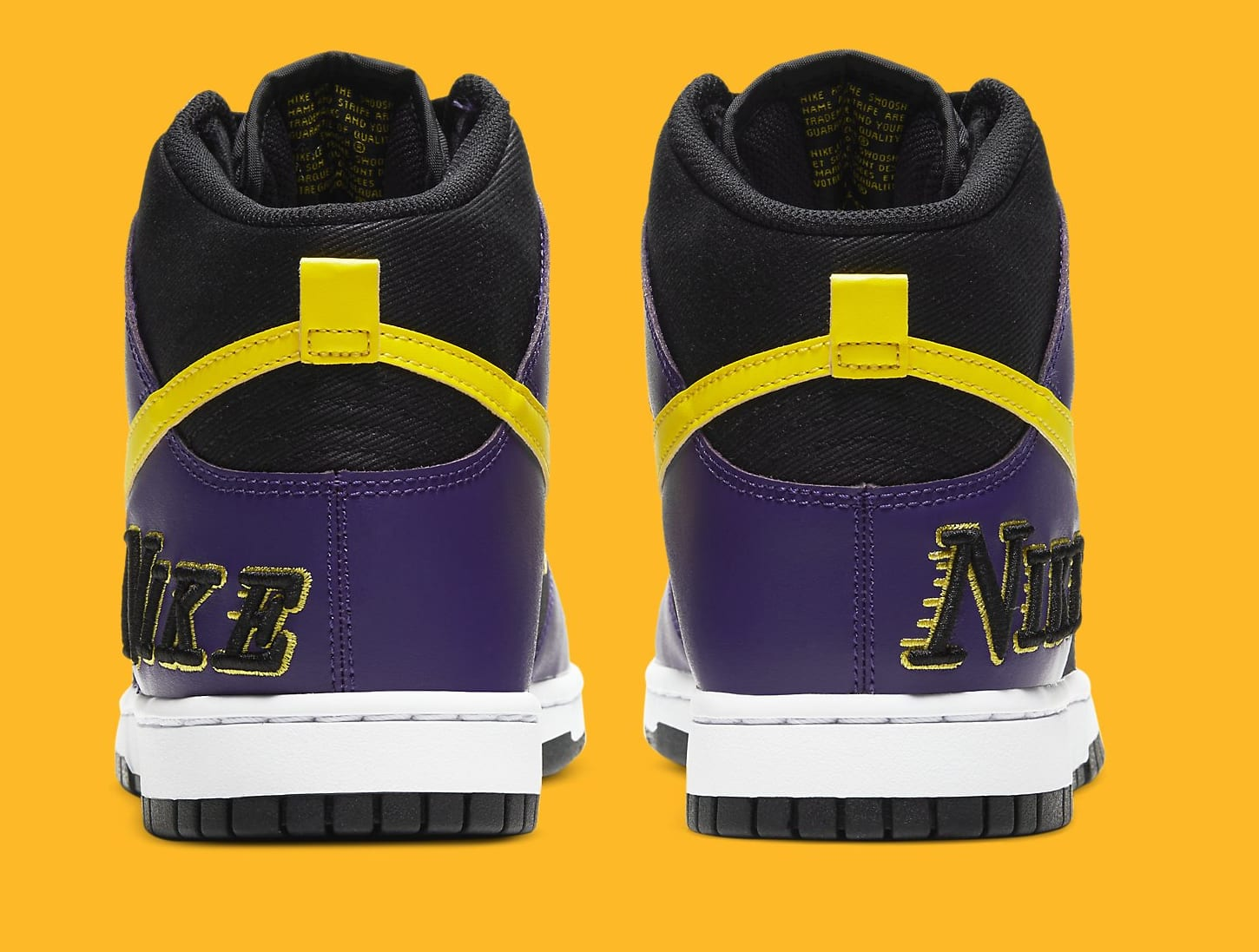 Nike Dunk High PRM EMB 'Lakers' DH0642-001 Heel