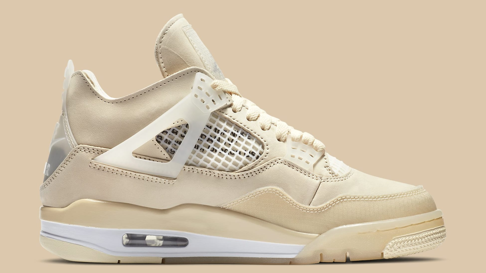 Off-White x Air Jordan 4 Sail Release Date CV9388-100 Medial