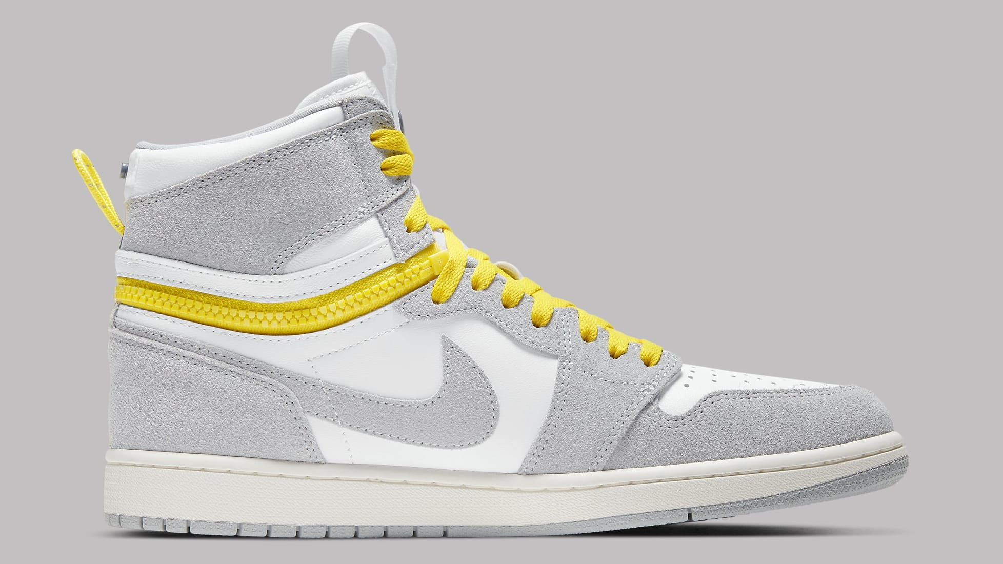 Air Jordan 1 High Switch White Light Smoke Grey Sail Tour Yellow Release Date CW6576-100 Medial