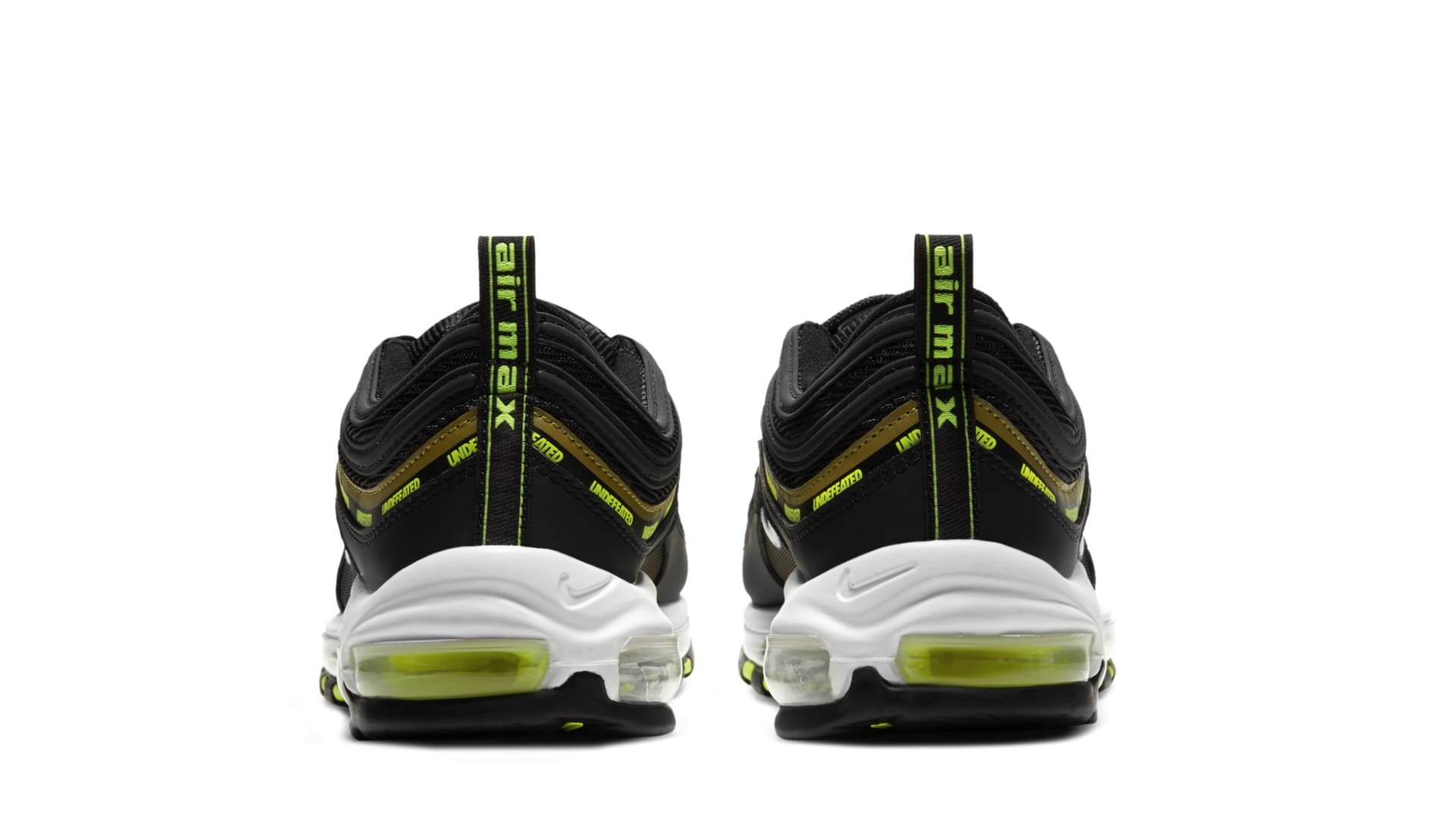 Undefeated x Nike Air Max 97 'Black/Volt' DC4830-001 (Heel)