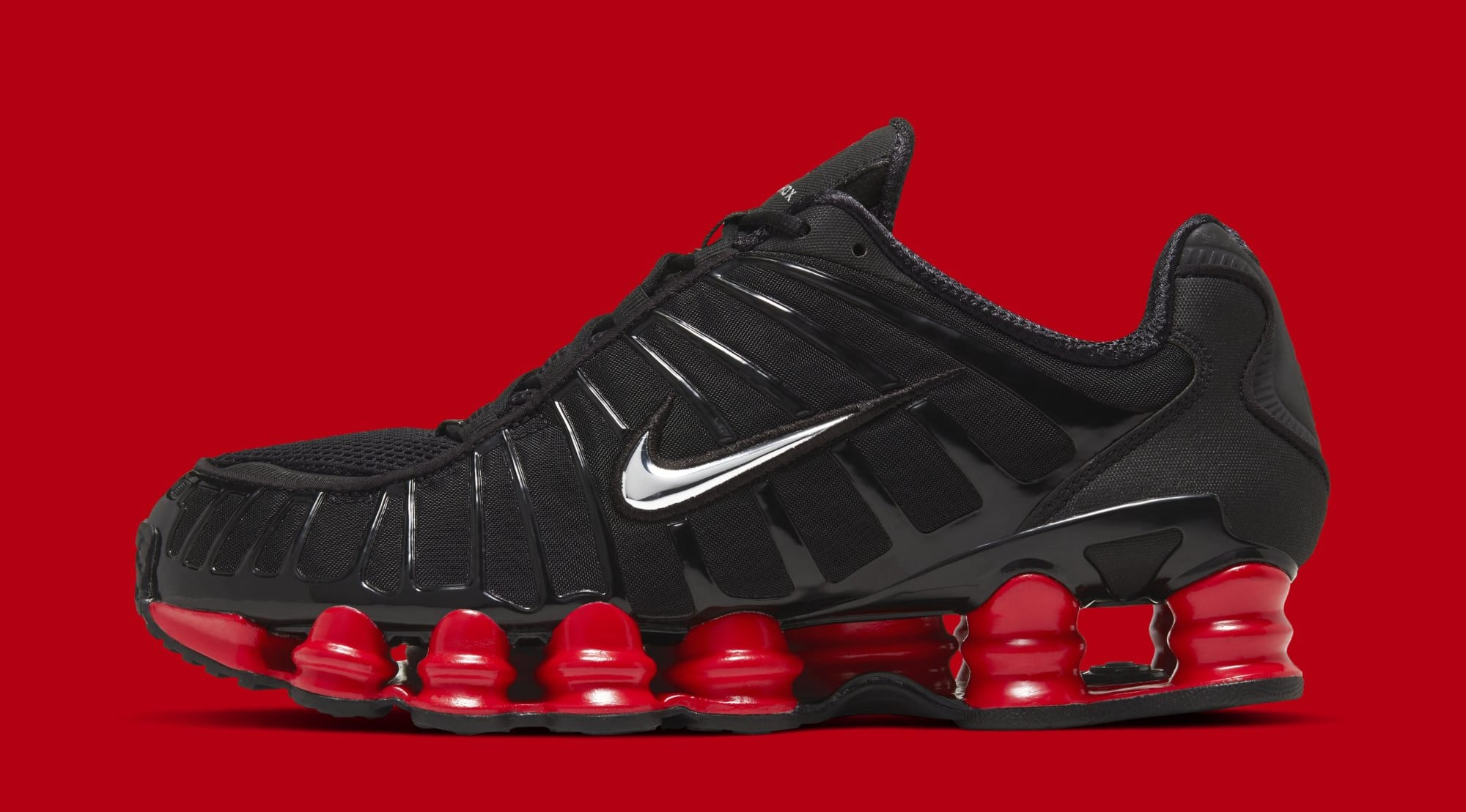 Skepta x Nike Shox TL 'Black/Black/University Red' CI0987-001 (Lateral)