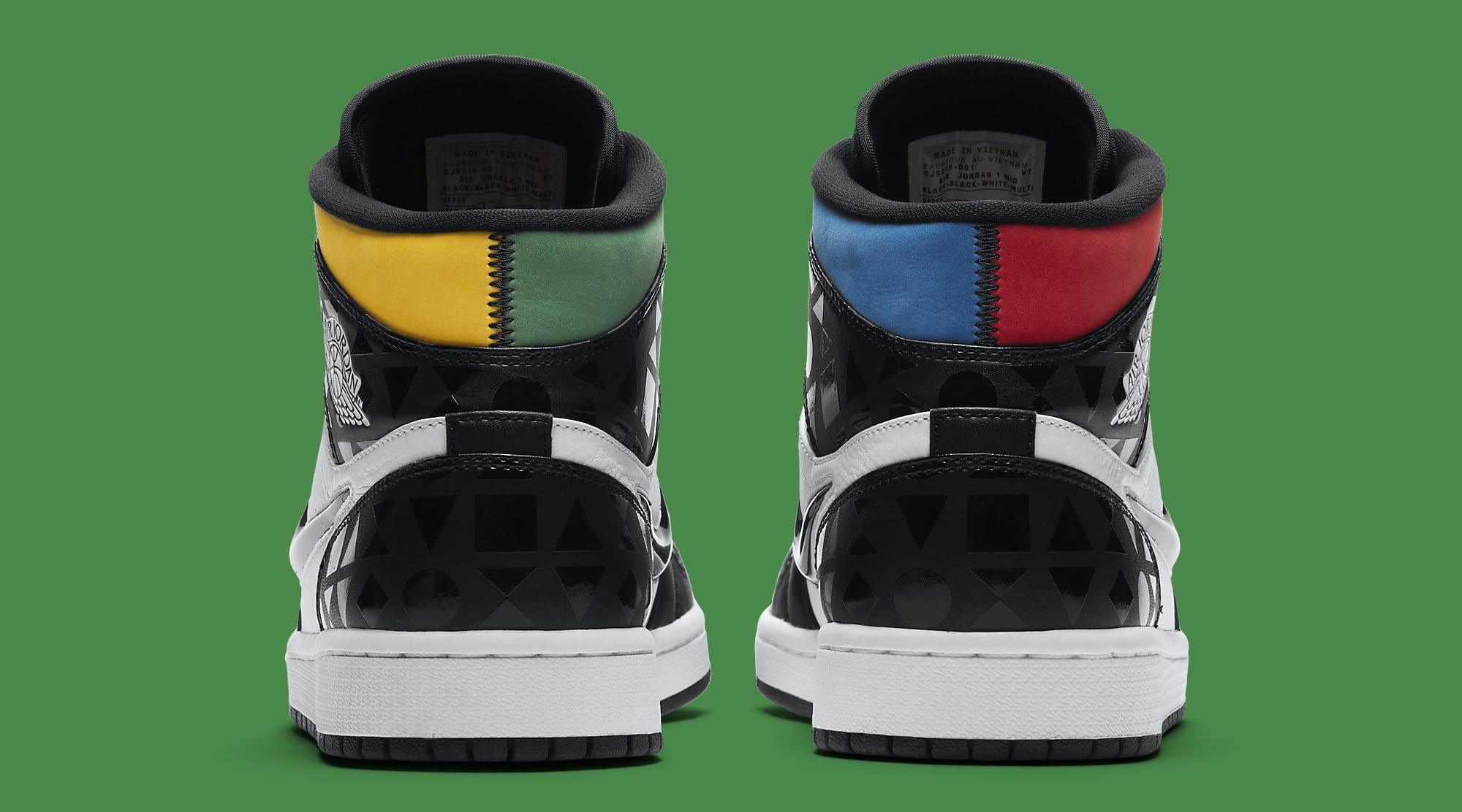 Air Jordan 1 Retro Mid 'Quai 54' CJ9219-001 Heel