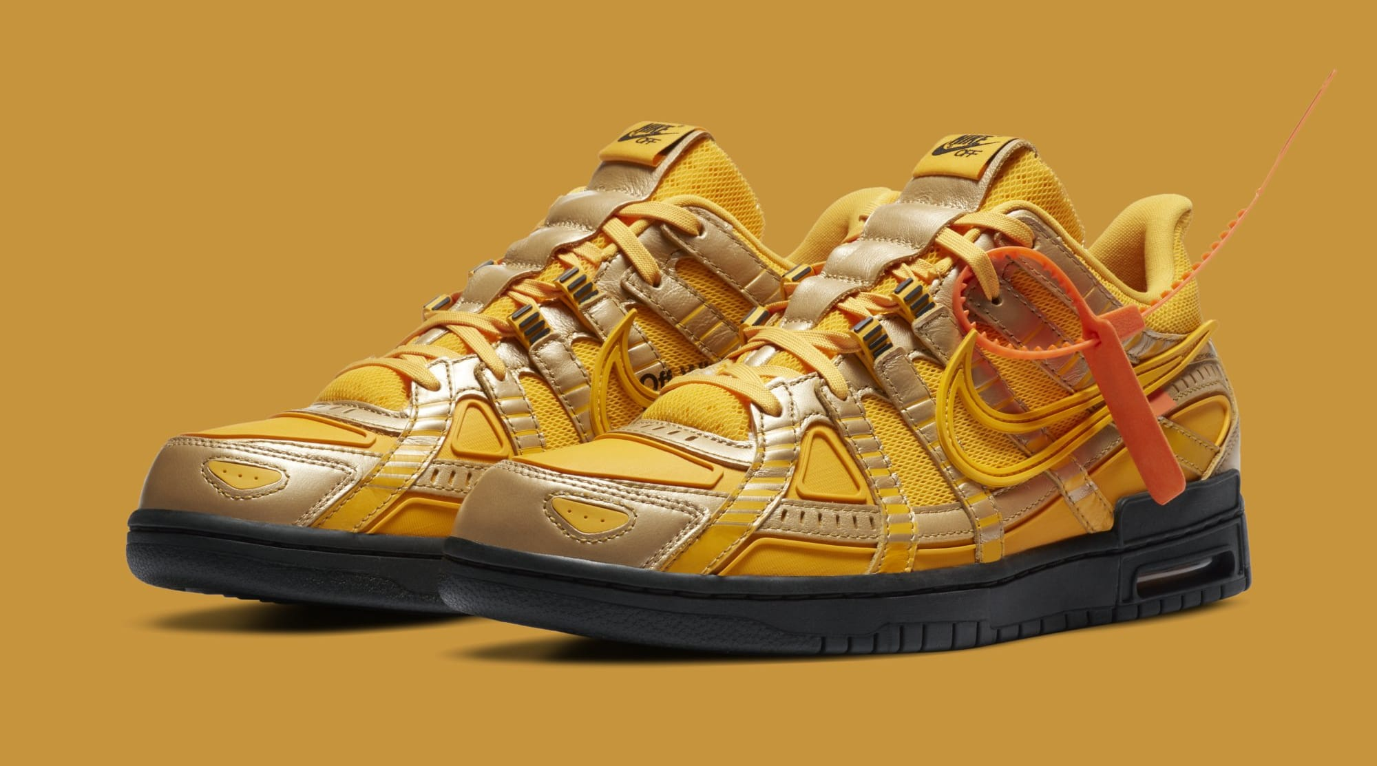 Off-White x Nike Air Rubber Dunk 'University Gold' CU6015-700 Pair