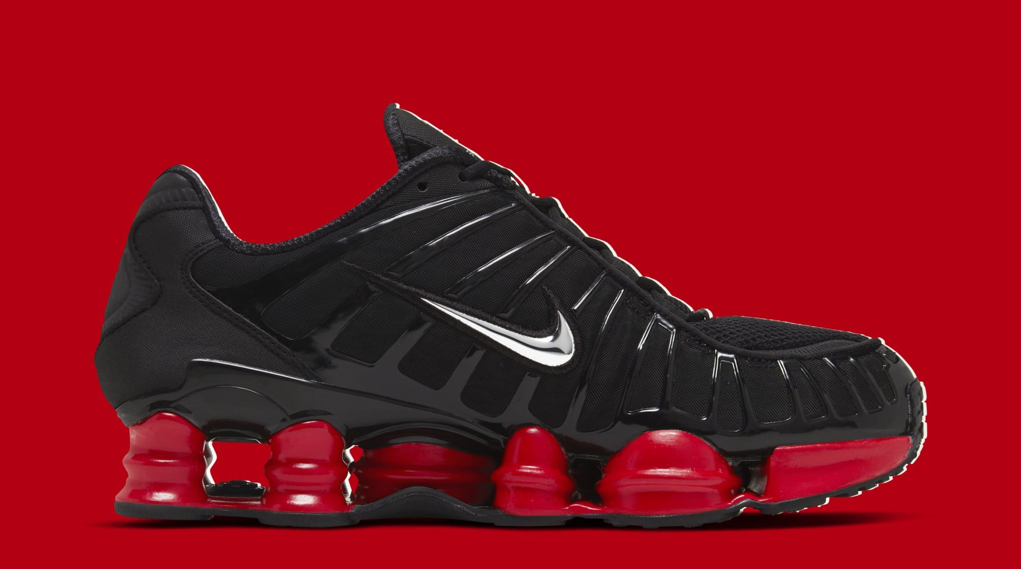 Skepta x Nike Shox TL 'Black/Black/University Red' CI0987-001 (Medial)