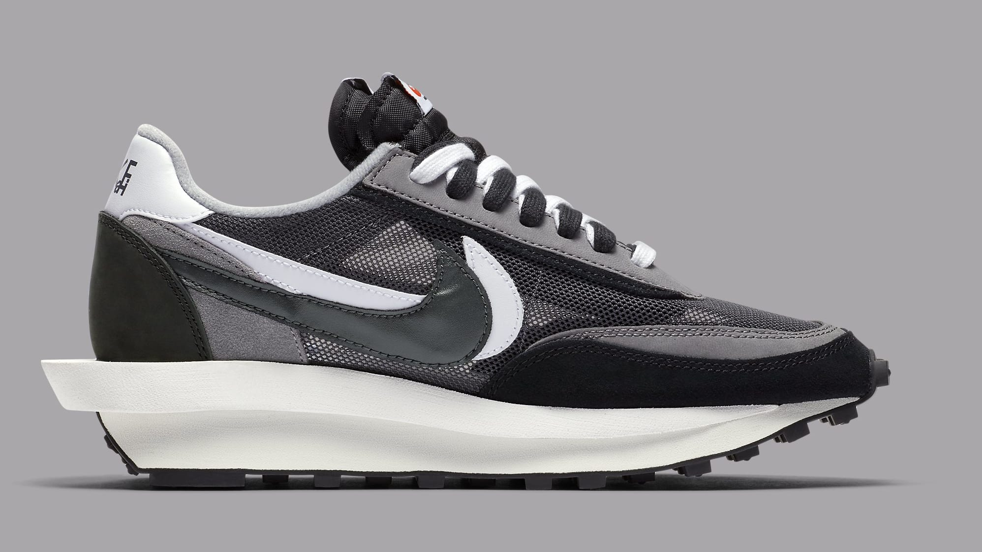Sacai x Nike LDWaffle Black Anthracite Release Date BV0073-001 Medial