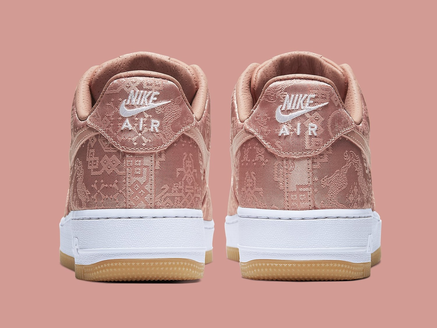 Clot x Nike Air Force 1 Rose Gold Release Date CJ5290-600 Heel
