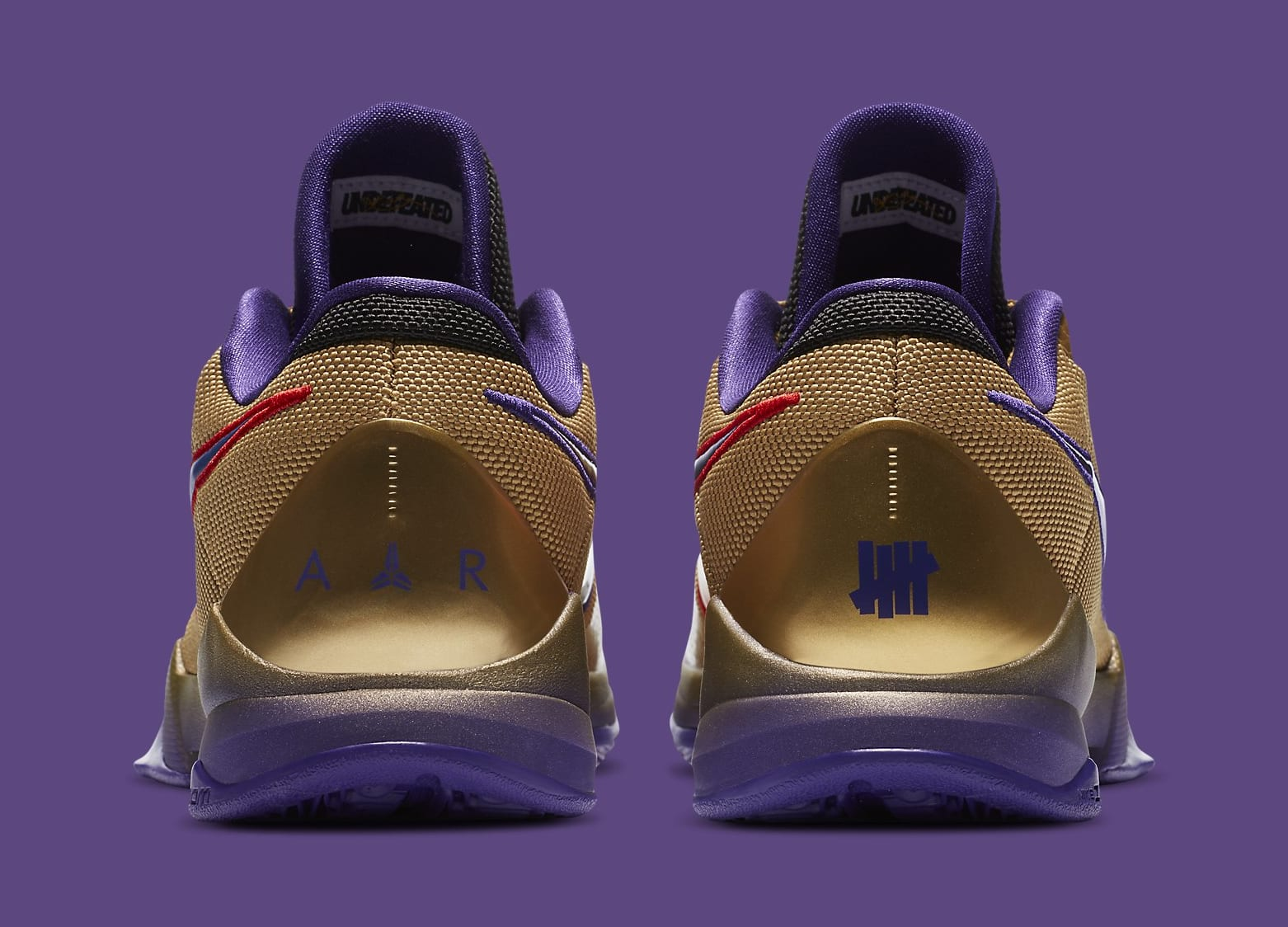 Undefeated x Nike Kobe 5 Gold Hall of Fame Release date DA6809-700 Heel