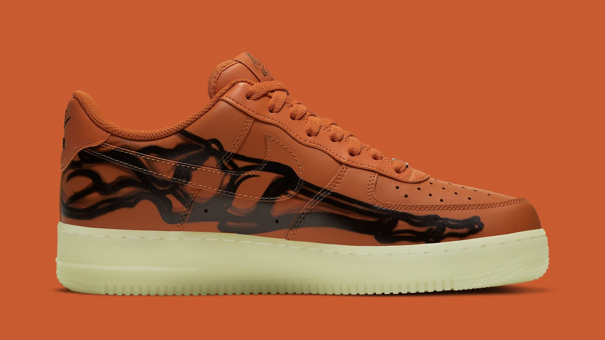 Nike Air Force 1 Low Skeleton 'Orange' CU8067-800 Medial