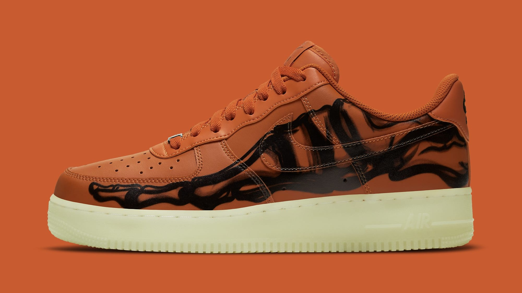 Nike Air Force 1 Low Skeleton 'Orange' CU8067-800 Lateral