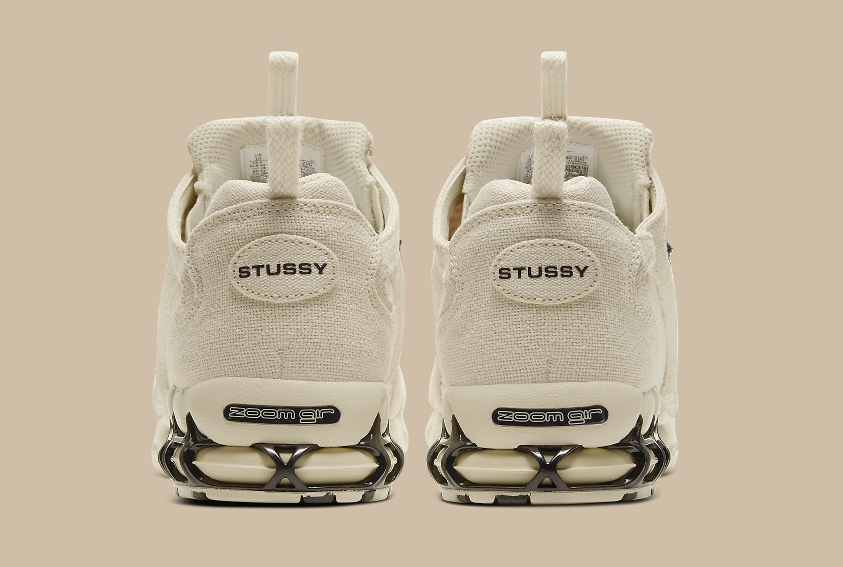 Stussy x Nike Air Zoom Spiridon 2 Caged Fossil Release Date CQ5486-200 Heel