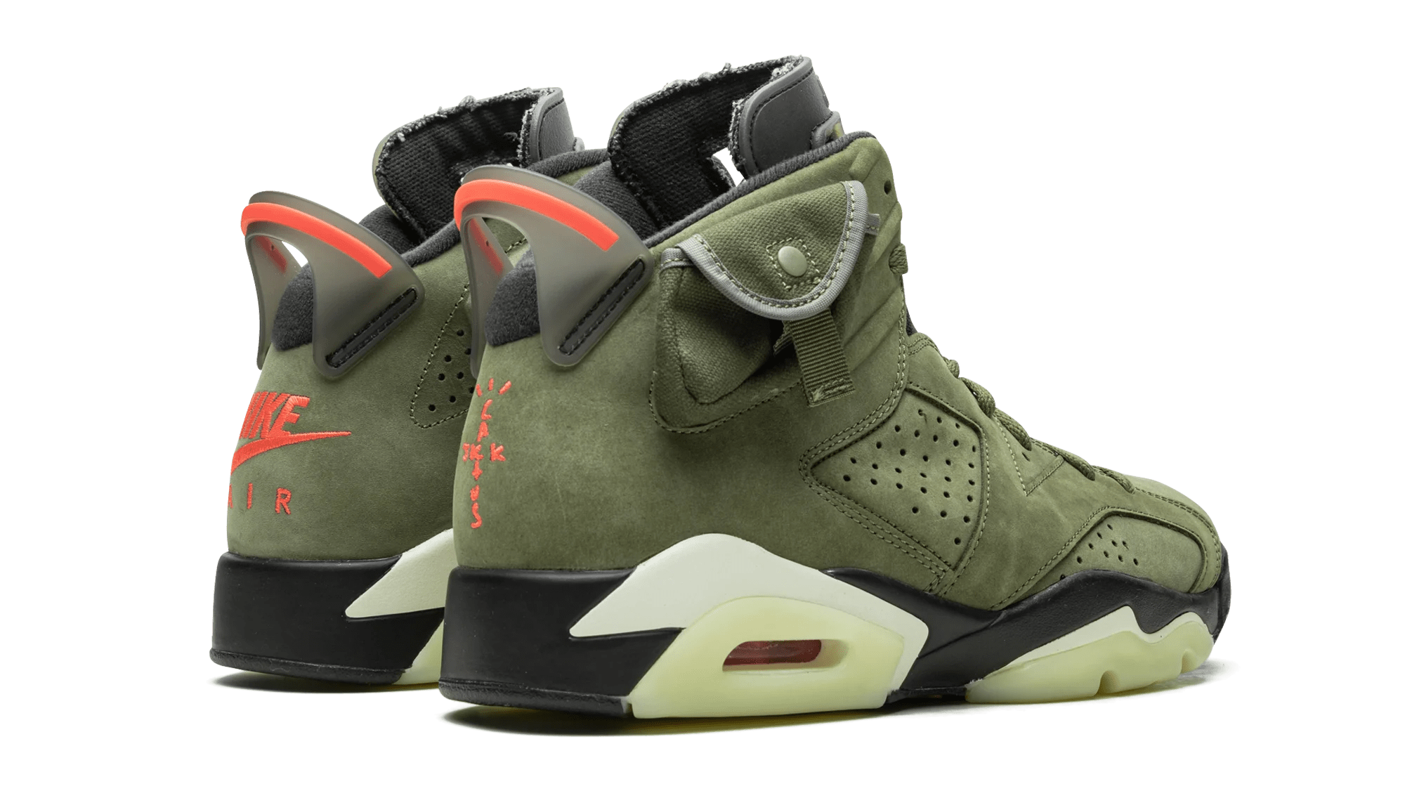Travis Scott x Air Jordan 6 'Medium Olive/Black/Sail/University Red' CN1084-200 (Heel)