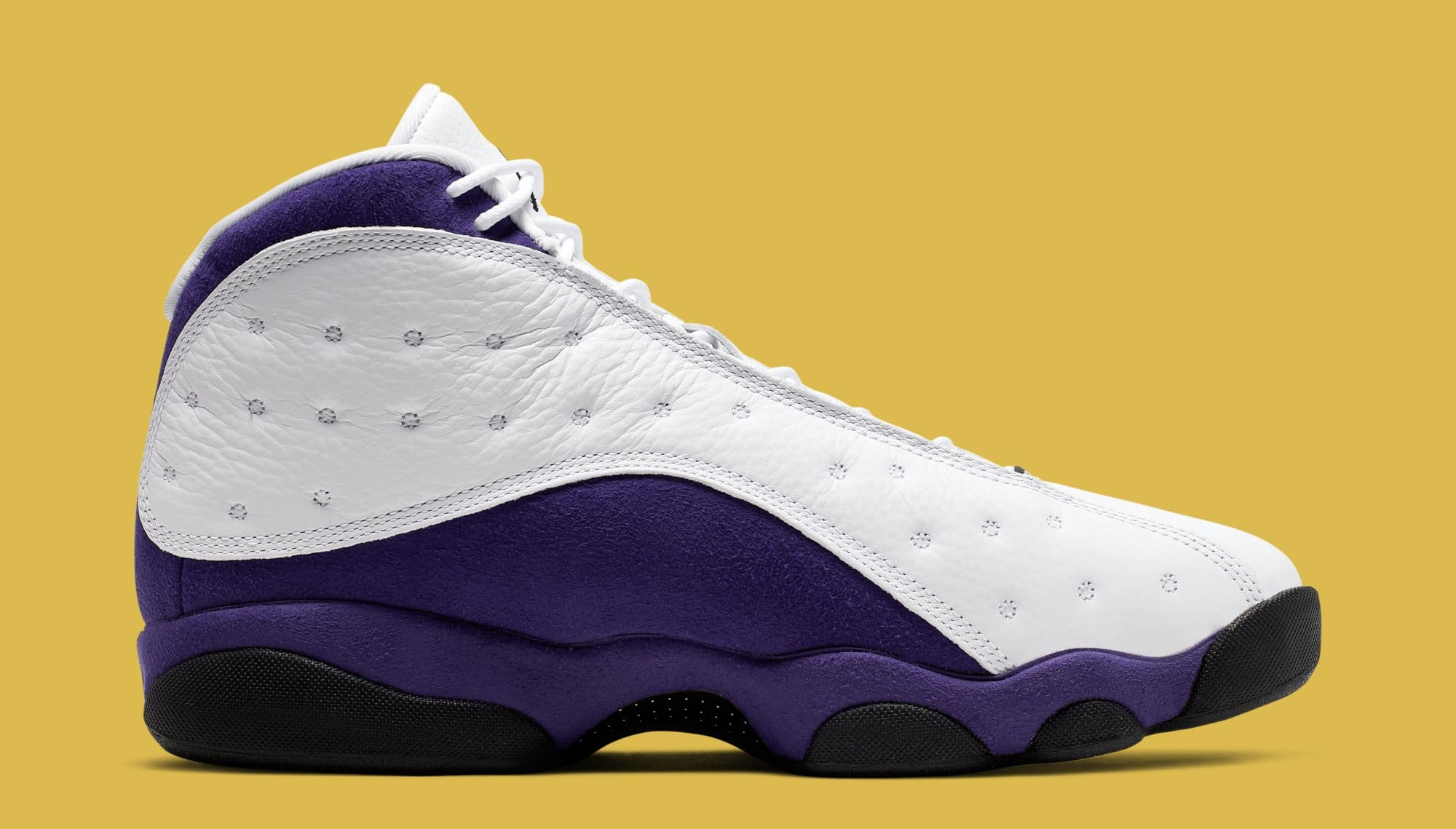 Air Jordan 13 'Lakers' White/Black/Court Purple/University Gold 414571-105 (Medial)