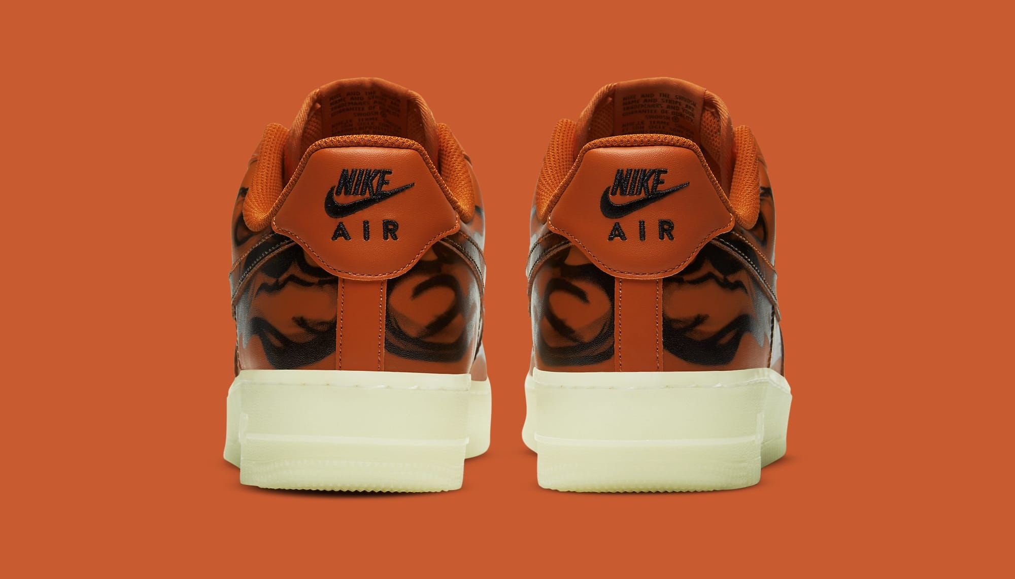 Nike Air Force 1 Low Skeleton 'Orange' CU8067-800 Heel