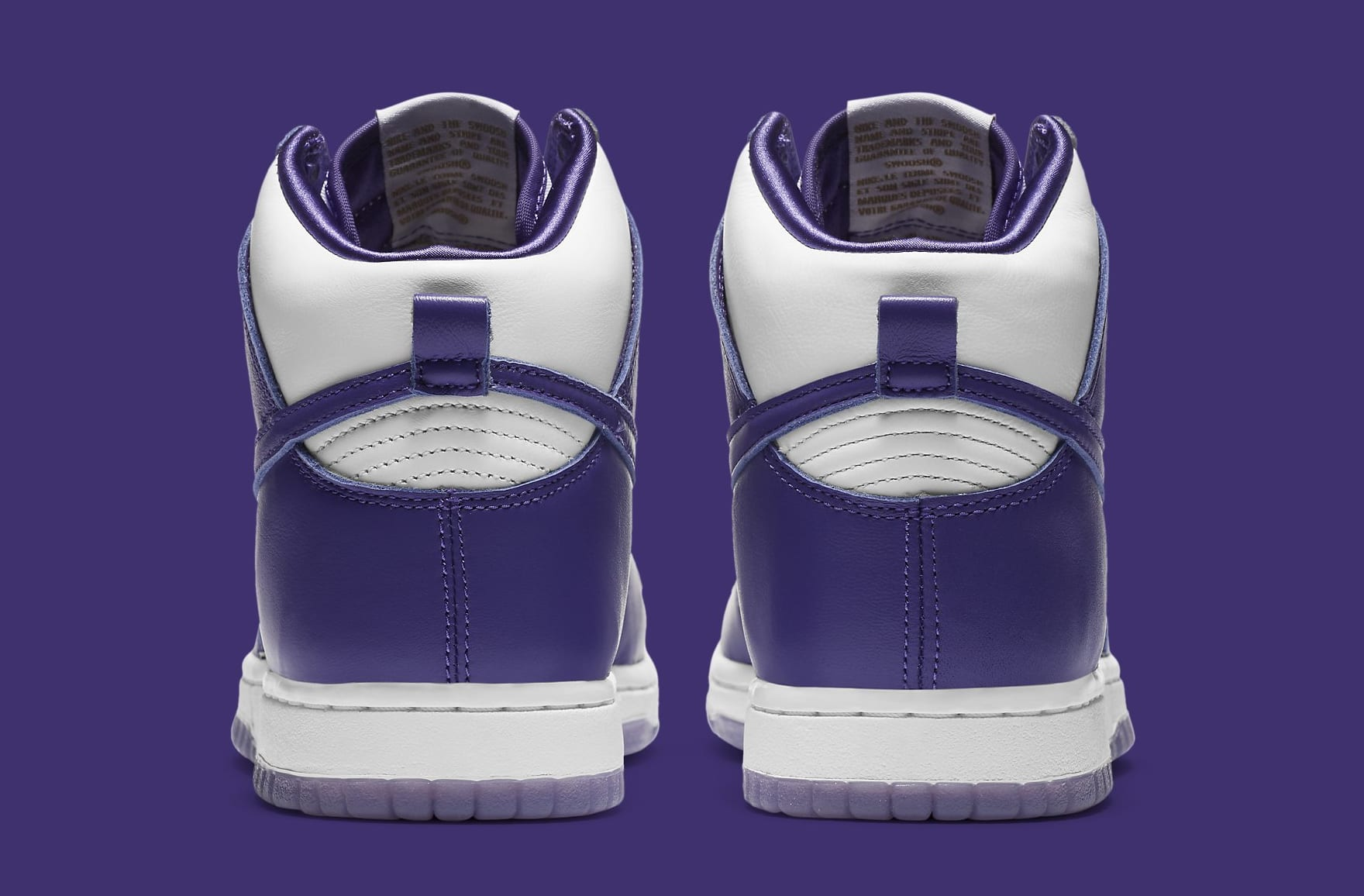 Nike Dunk High Women's Court Purple Release Date DC5382-100 Heel