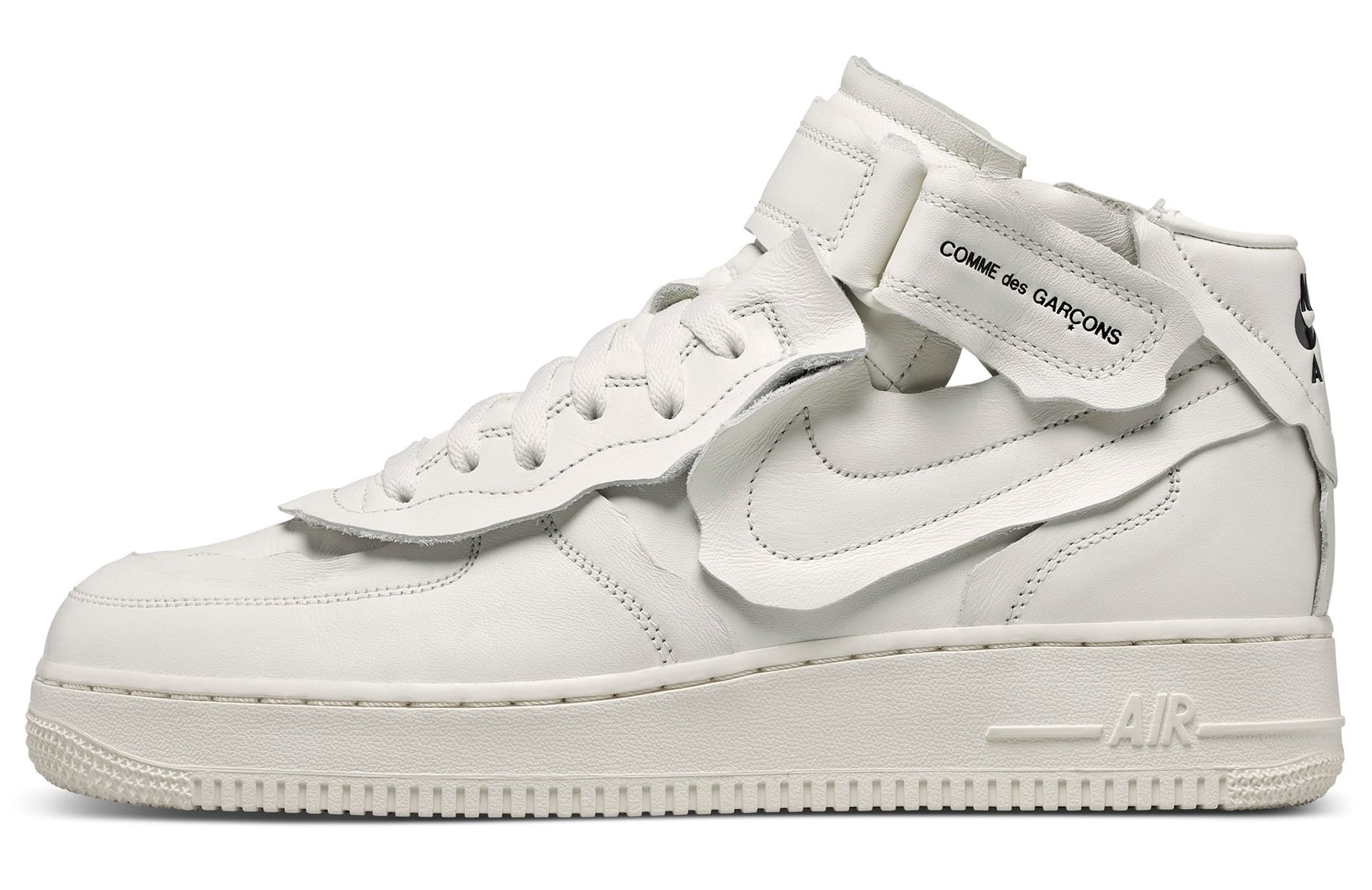 Comme Des Garcons x Nike Air Force 1 Mid 'White' F/W 20 Lateral