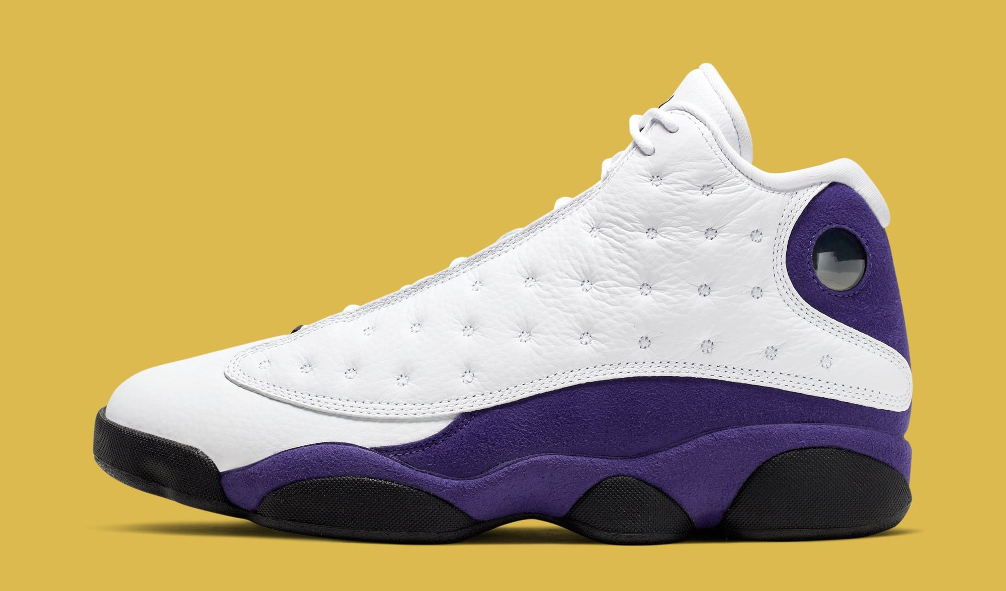 Air Jordan 13 'Lakers' White/Black/Court Purple/University Gold 414571-105 (Lateral)