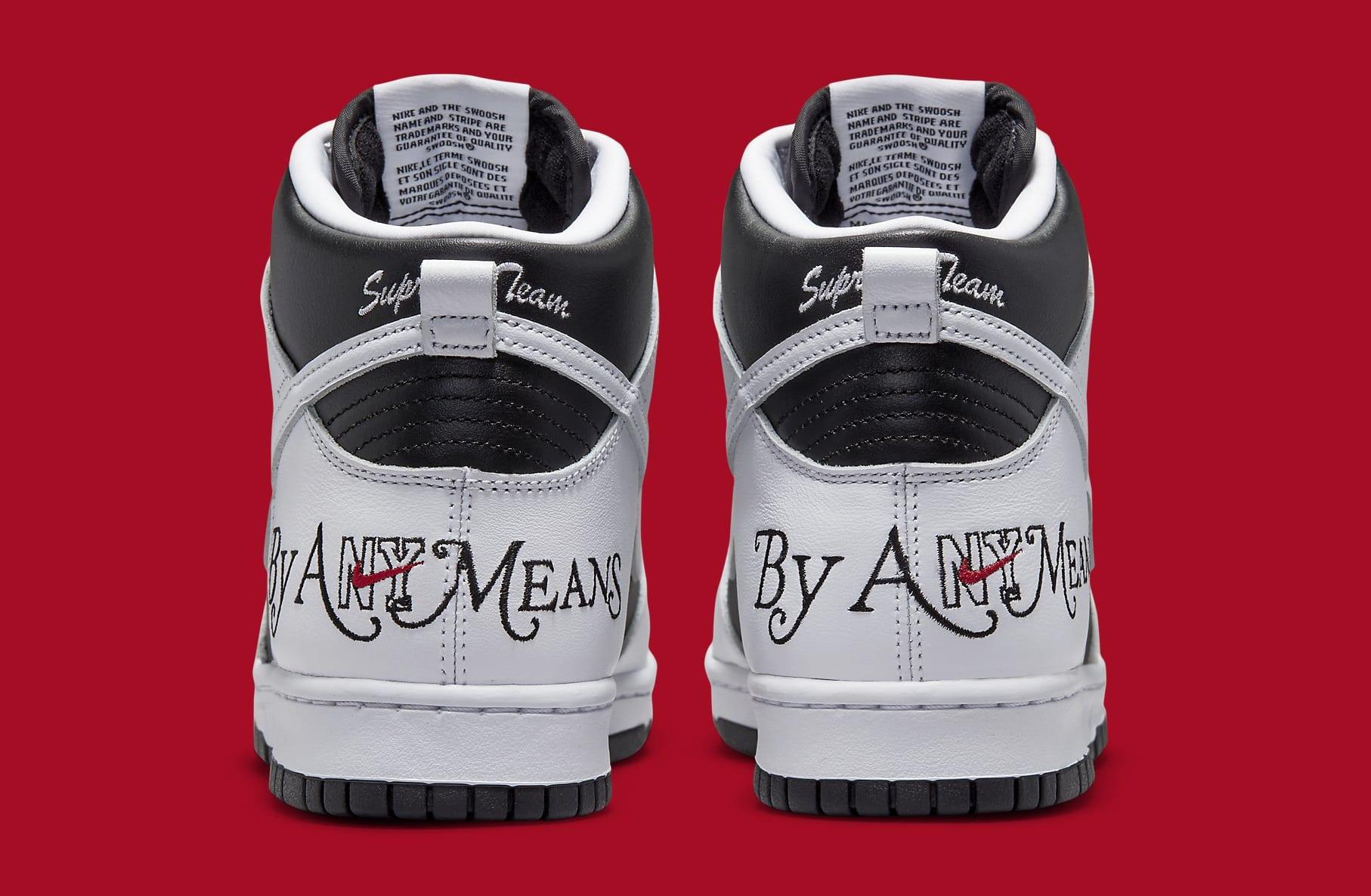 Supreme x Nike SB Dunk High White/Black DN3741-002 Heel