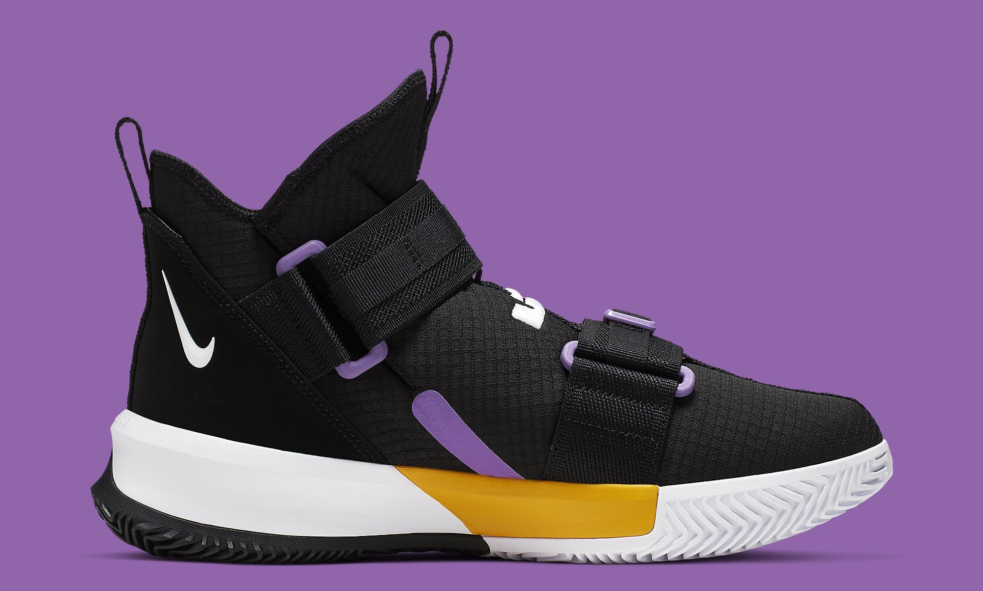 finest selection 32202 9cd43 Nike LeBron Soldier 13 Lakers Release Date AR4228-004 Pair ...
