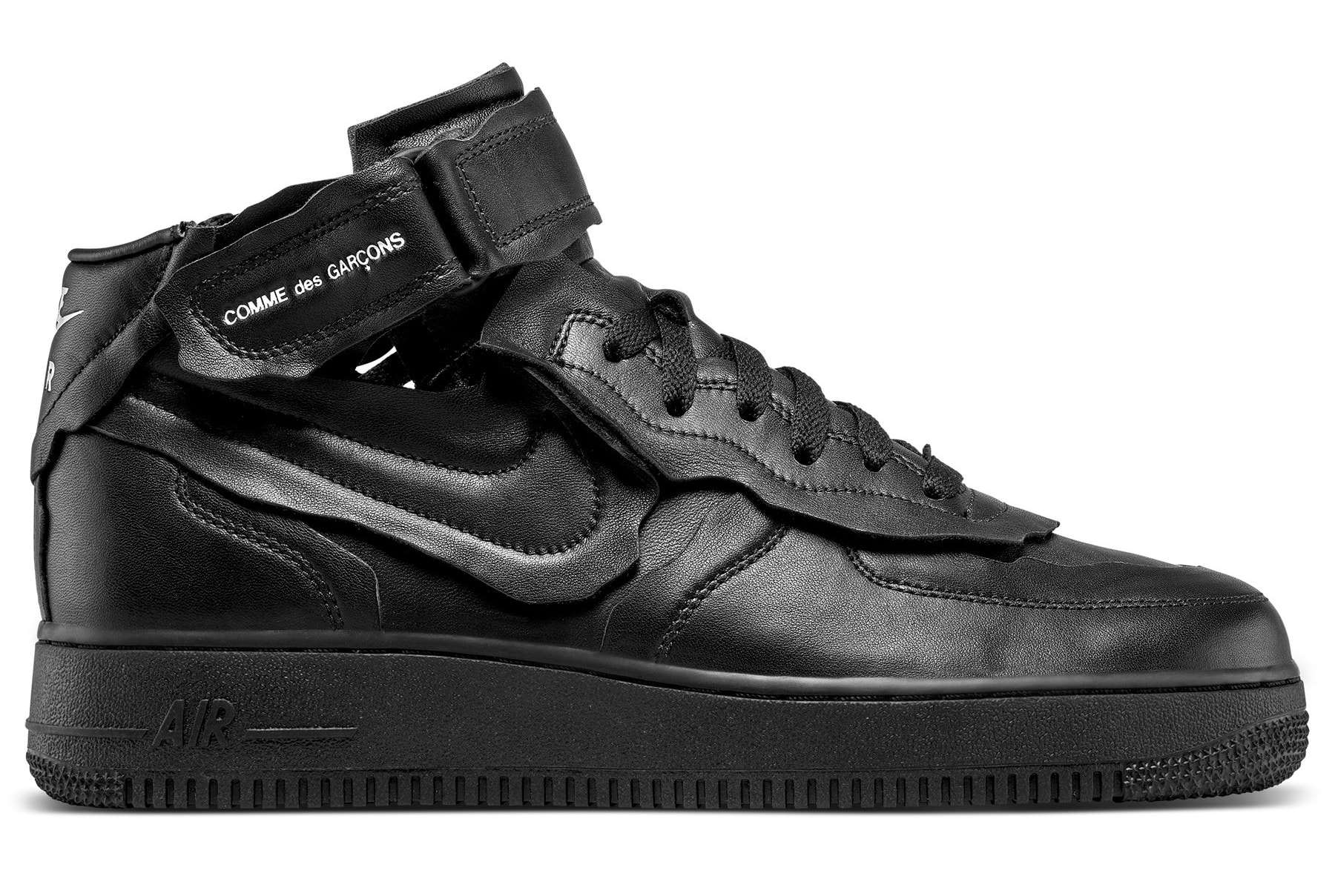 Comme Des Garcons x Nike Air Force 1 Mid 'Black' F/W 20 Lateral