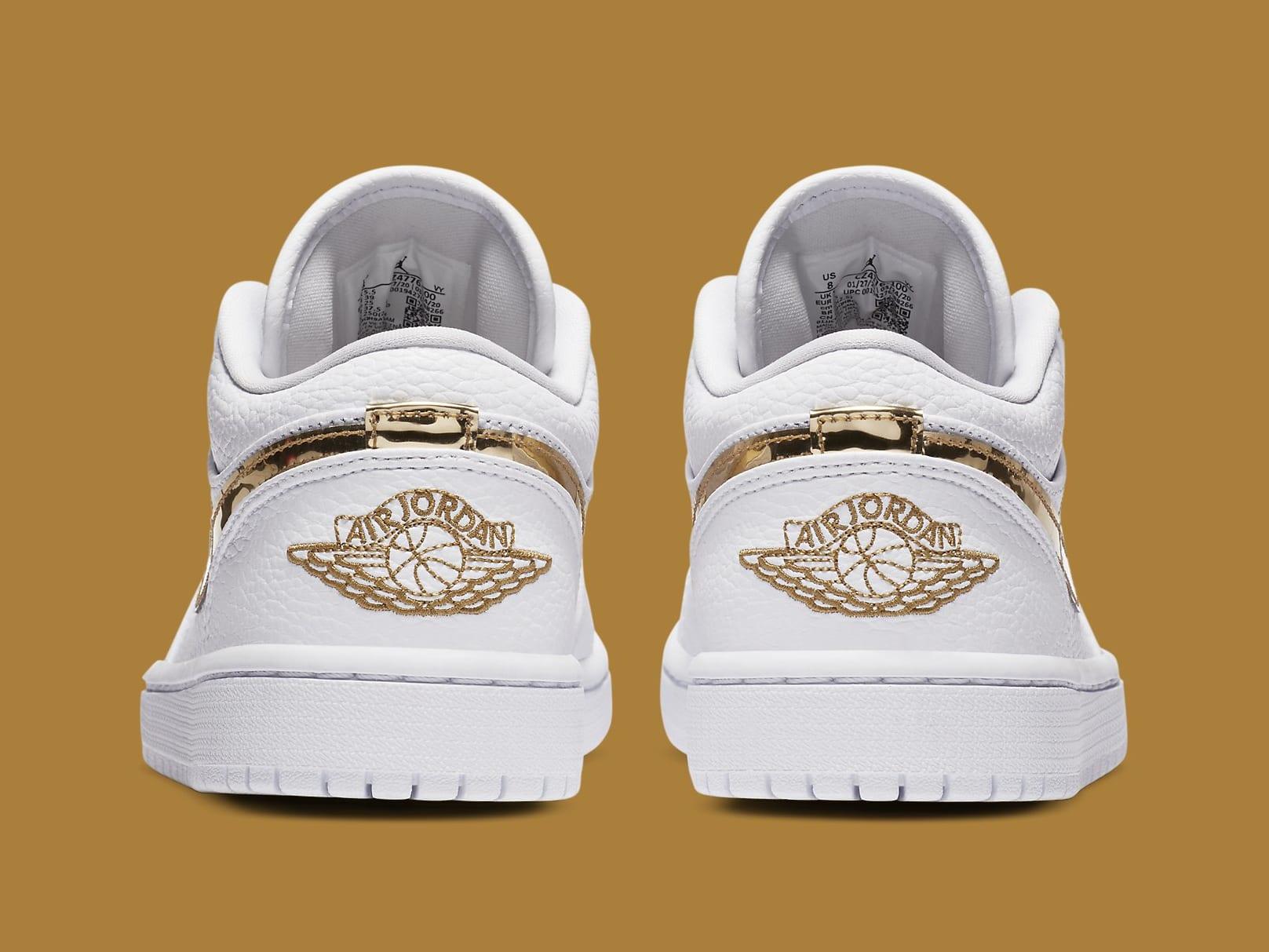 Air Jordan 1 Low White Metallic Gold Release Date CZ4776-100 Heel