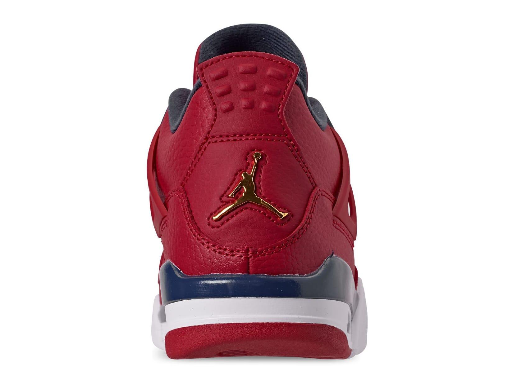 Air Jordan 4 Retro SE 'Fiba' Gym Red/White/Metallic Gold/Obsidian CI1184-617 (Heel)