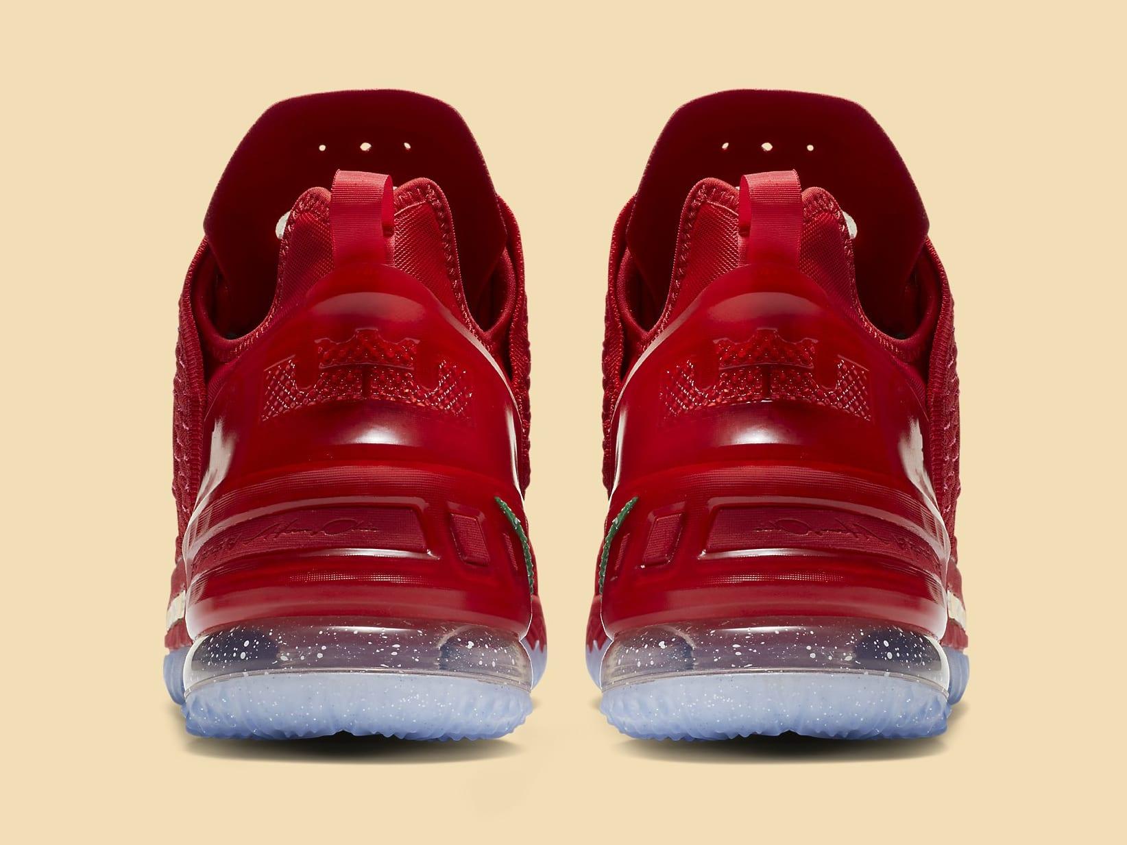 Nike LeBron 18 X-Mas in LA Release Date DB8148-601 Heel