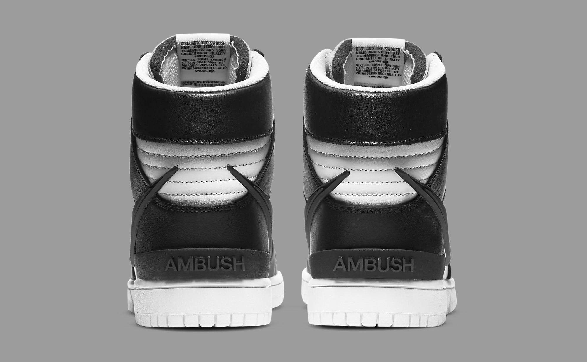 Ambush x Nike Dunk High Black/White CU7544-001 Heel
