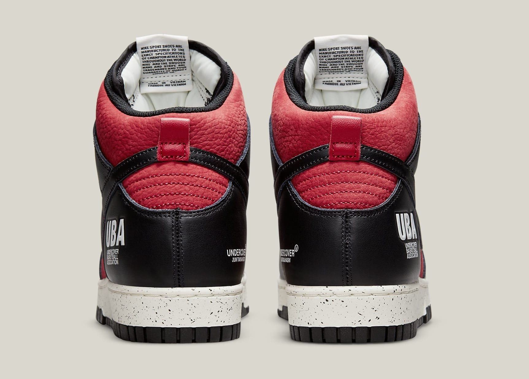 Undercover x Nike Dunk High 1985 'Gym Red' DD9401-600 Heel