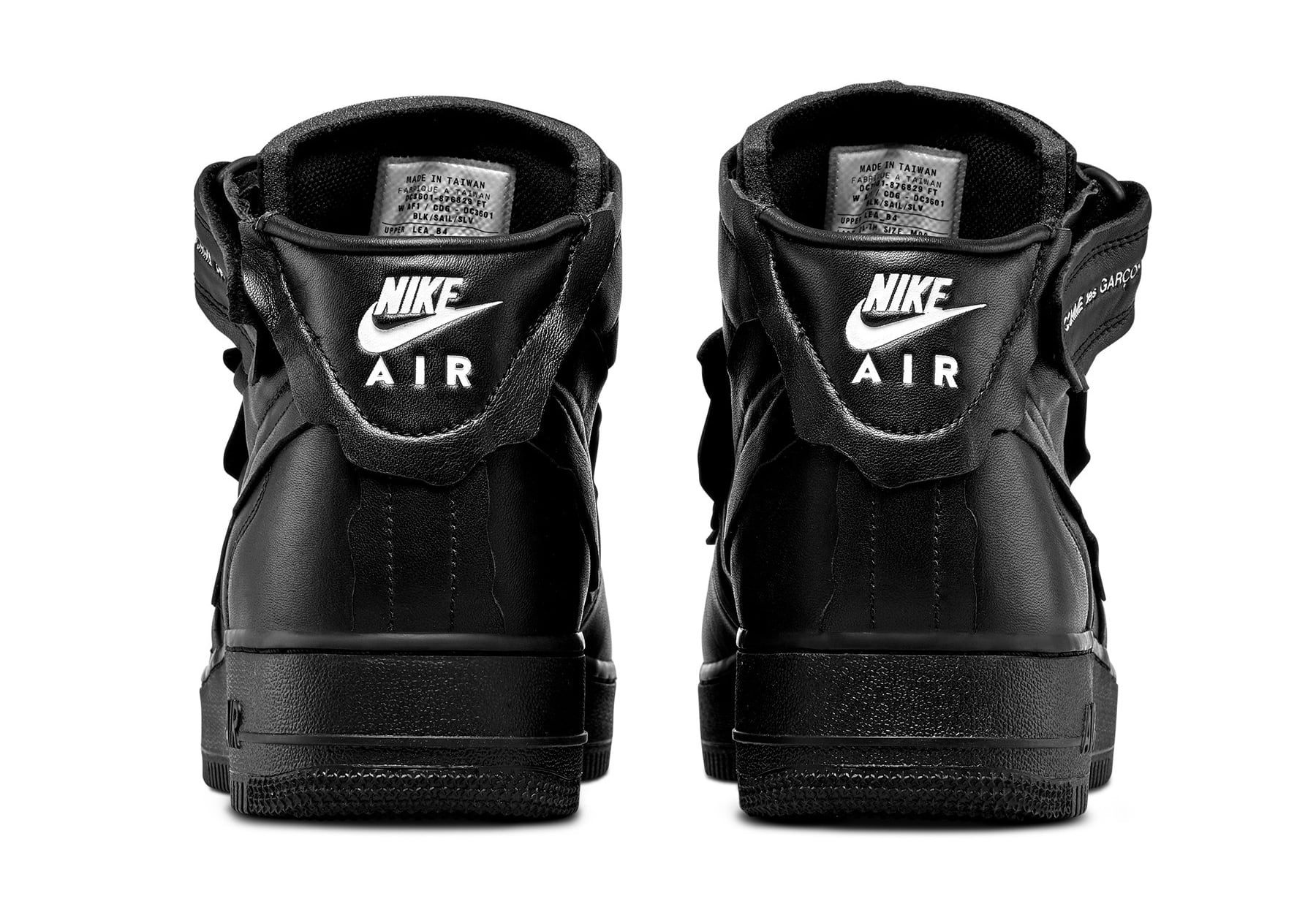 Comme Des Garcons x Nike Air Force 1 Mid 'Black' F/W 20 Heel