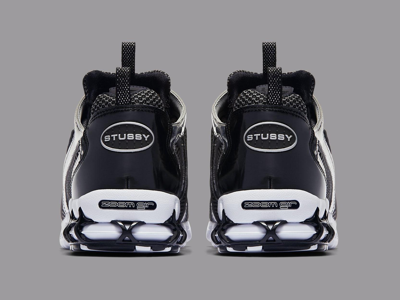 Stussy x Nike Air Zoom Spiridon Caged 2 Black Release Date CU1854-001 Heel